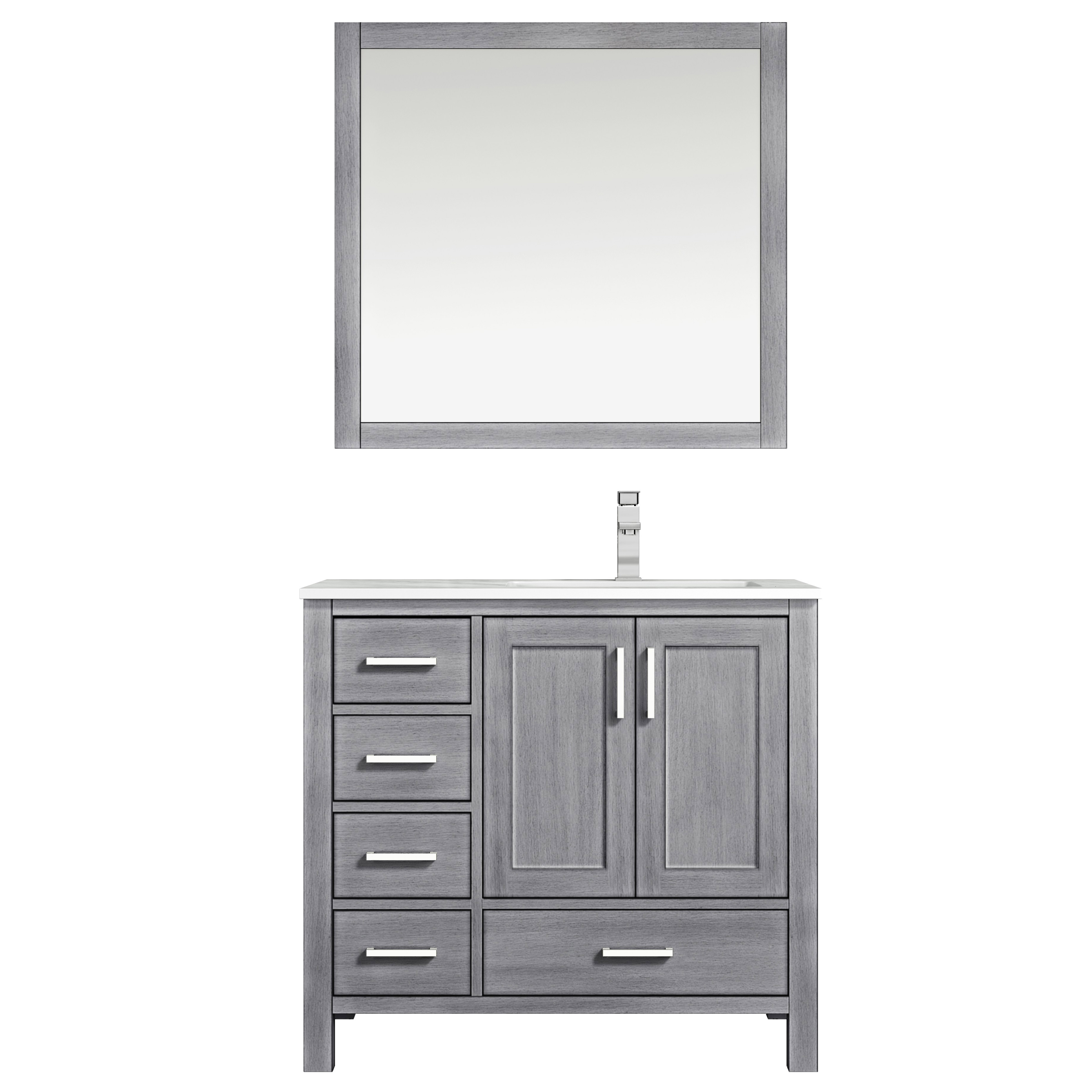 """36"""" Distressed Grey Vanity Cabinet Only - Right Version with Countertop and Mirror Options"""