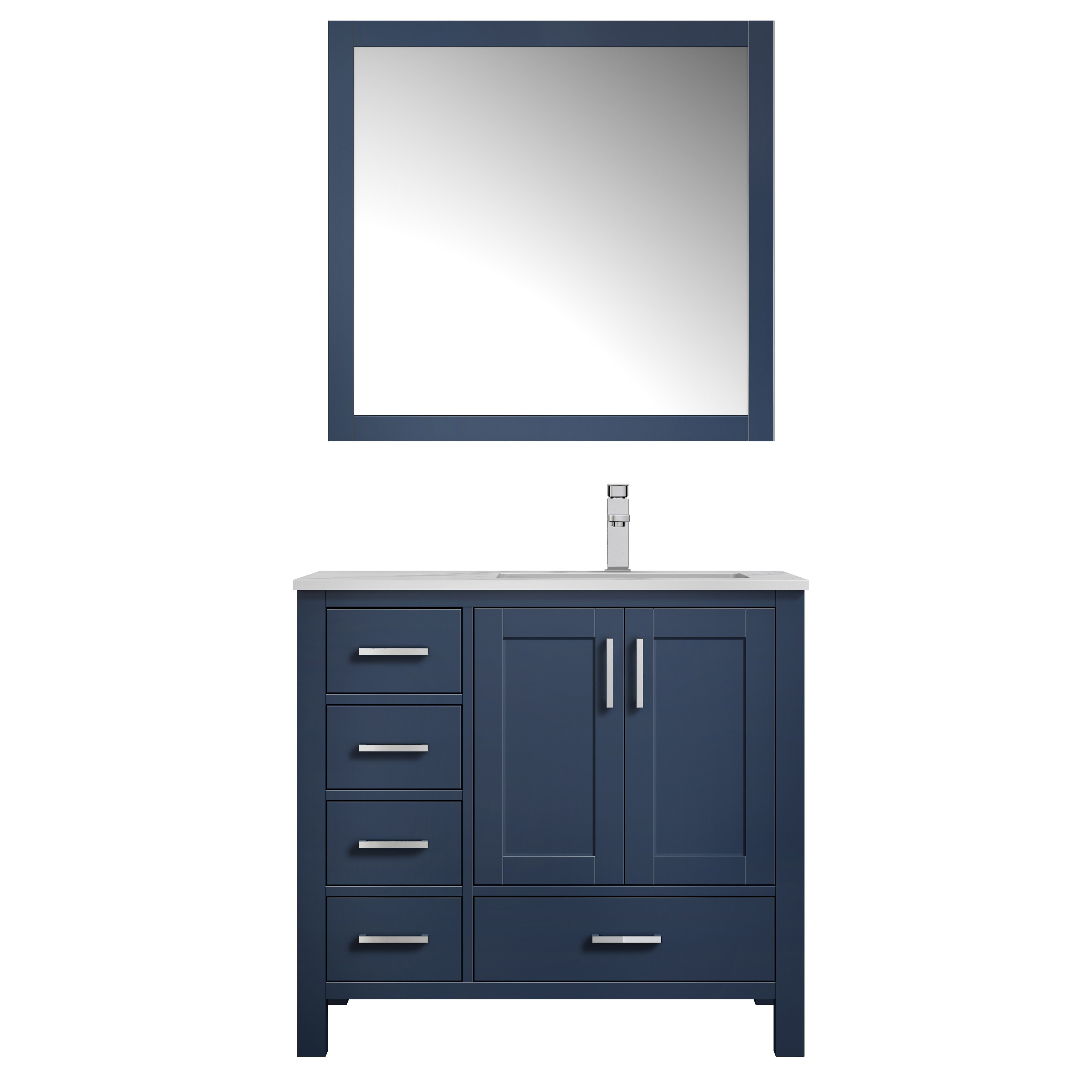 """36"""" Navy Blue Vanity Cabinet Only - Right Version with Countertop and Mirror Options"""