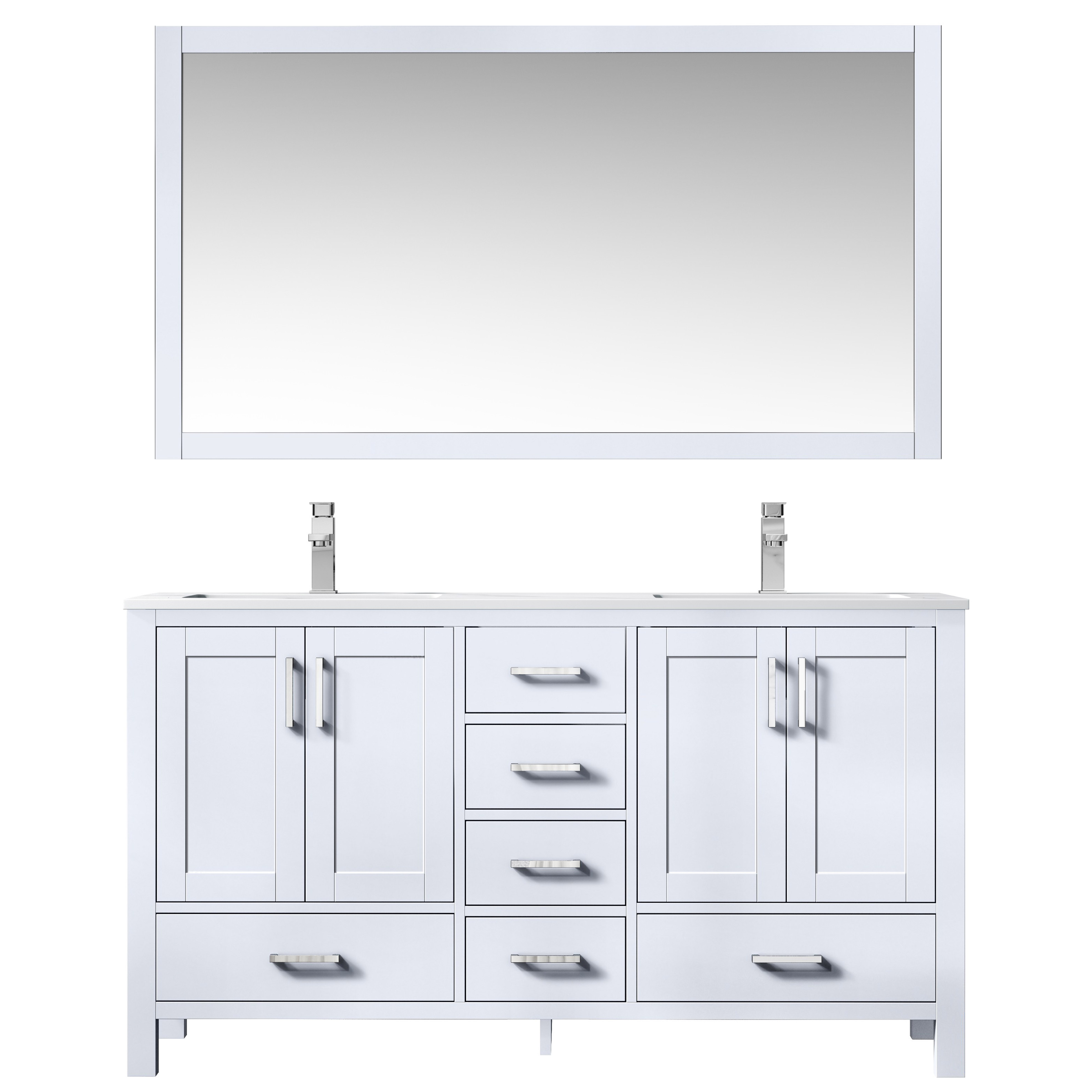 """60"""" White Vanity Cabinet Only with Countertop and Mirror Option"""