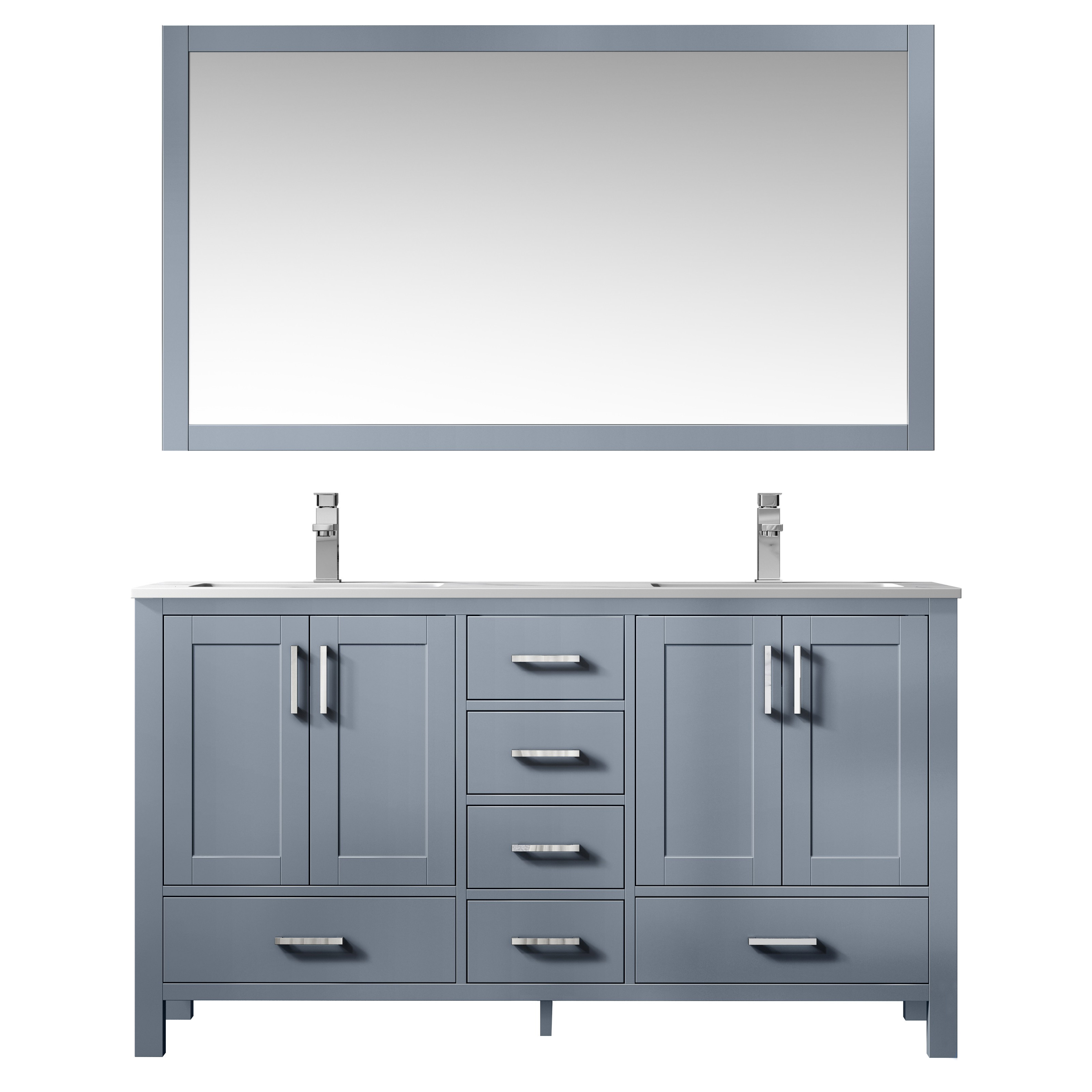 """60"""" Dark Grey Vanity Cabinet Only with Countertop and Mirror Option"""