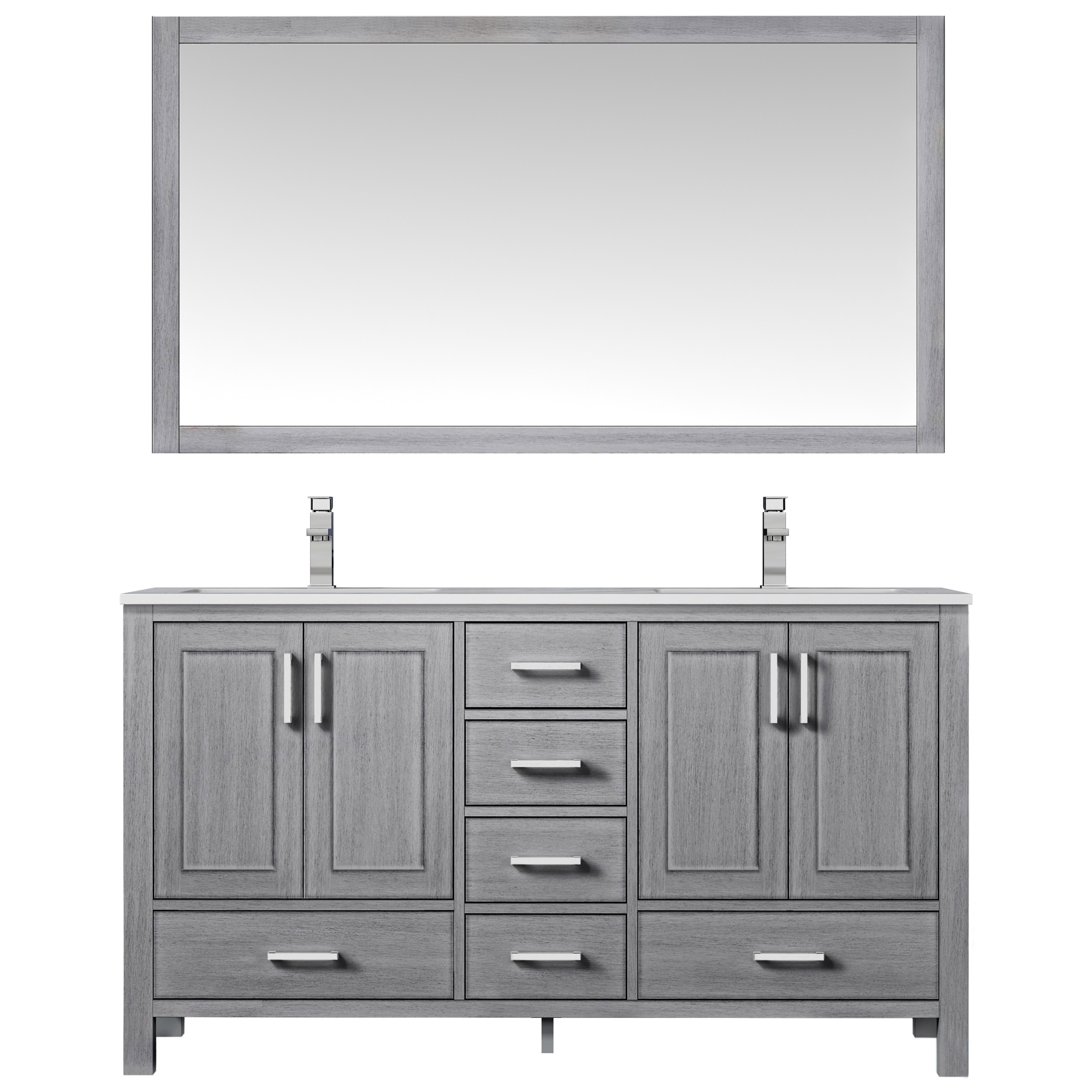 """60"""" Distressed Grey Vanity Cabinet Only with Countertop and Mirror Option"""