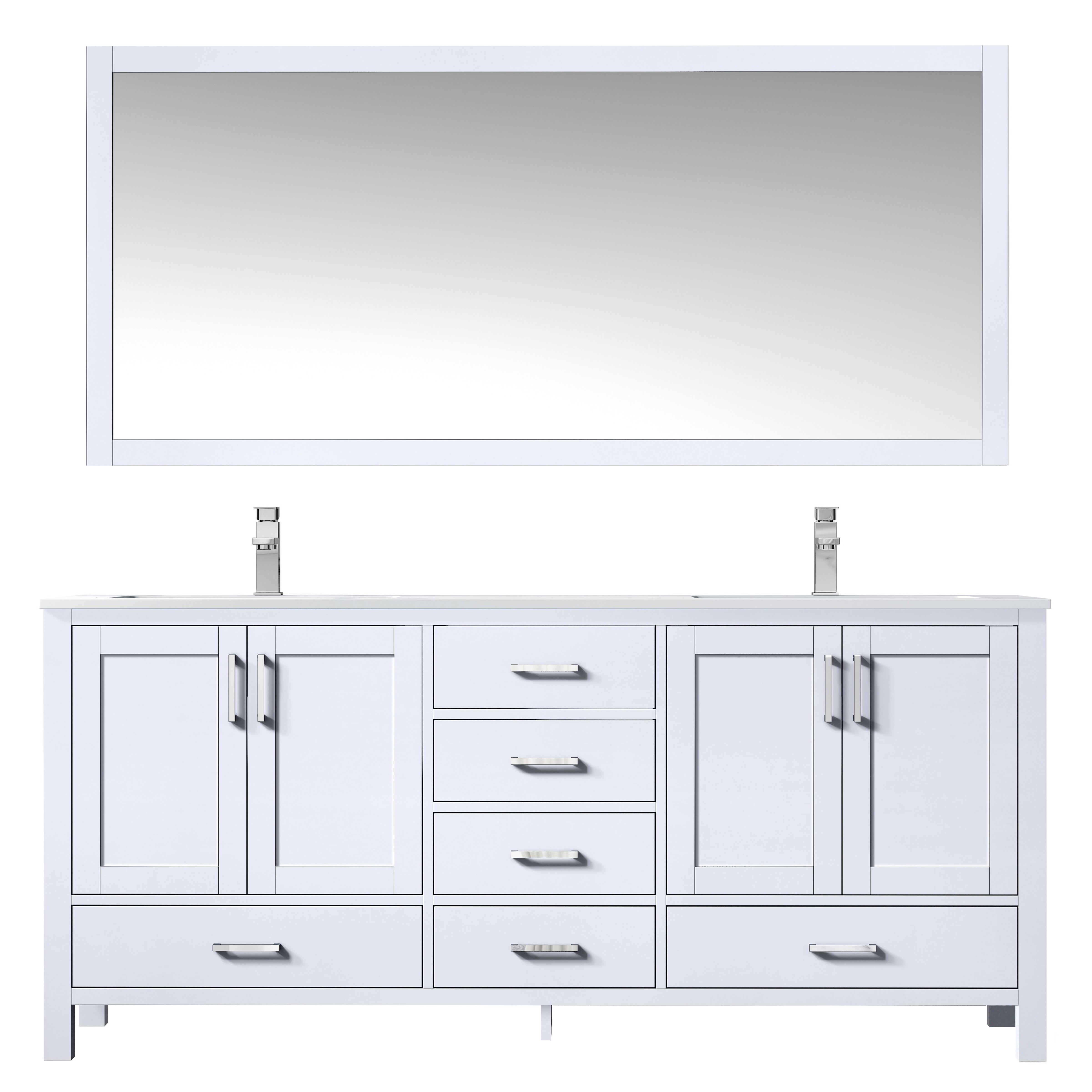 """72"""" White Vanity Cabinet Only with Countertop and Mirror Options"""