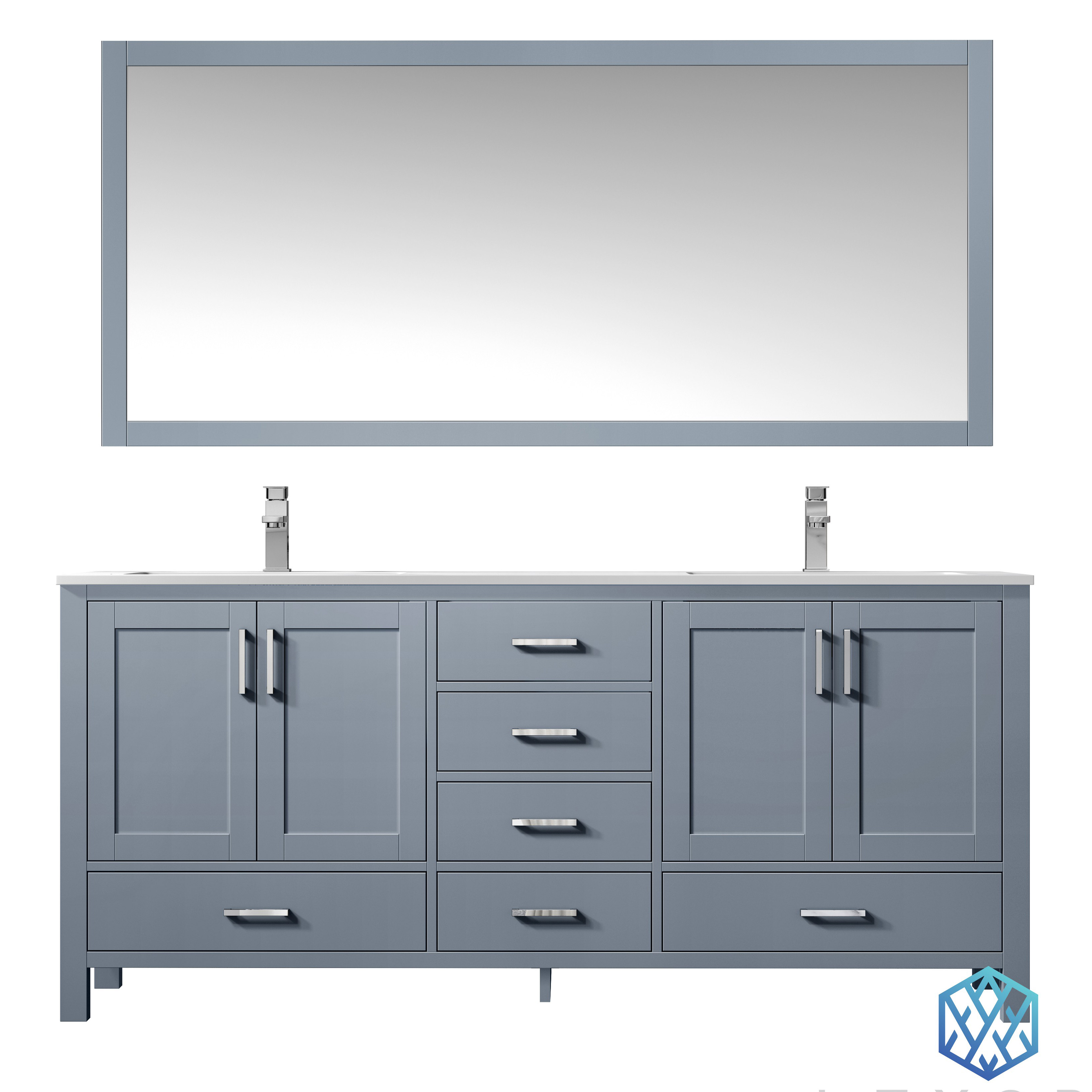 """72"""" Dark Grey Vanity Cabinet Only with Countertop and Mirror Option"""