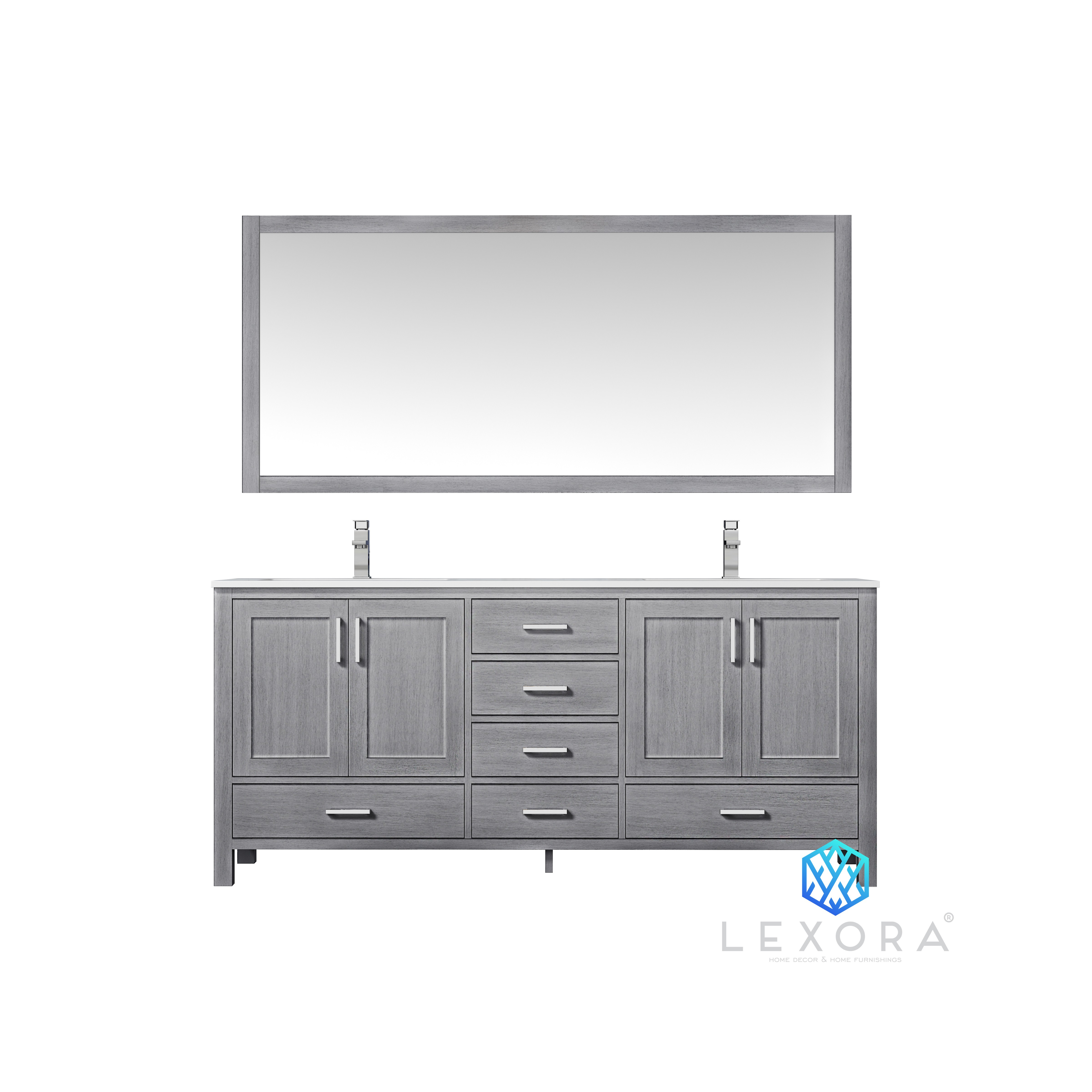 "72"" Distressed Grey Vanity Cabinet Only with Countertop and Mirror Options"