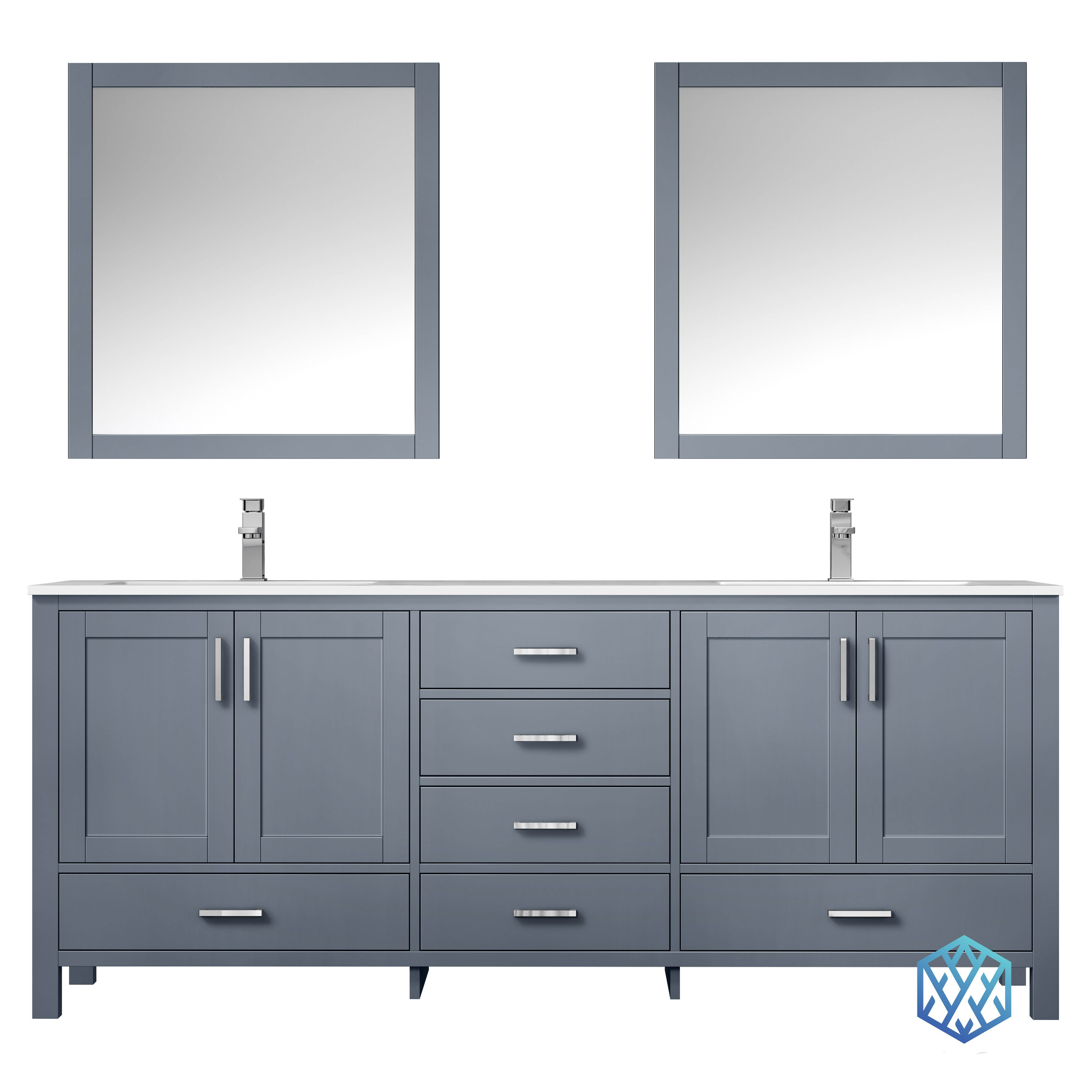 """80"""" Dark Grey Vanity Cabinet Only with Top and Mirror Options"""