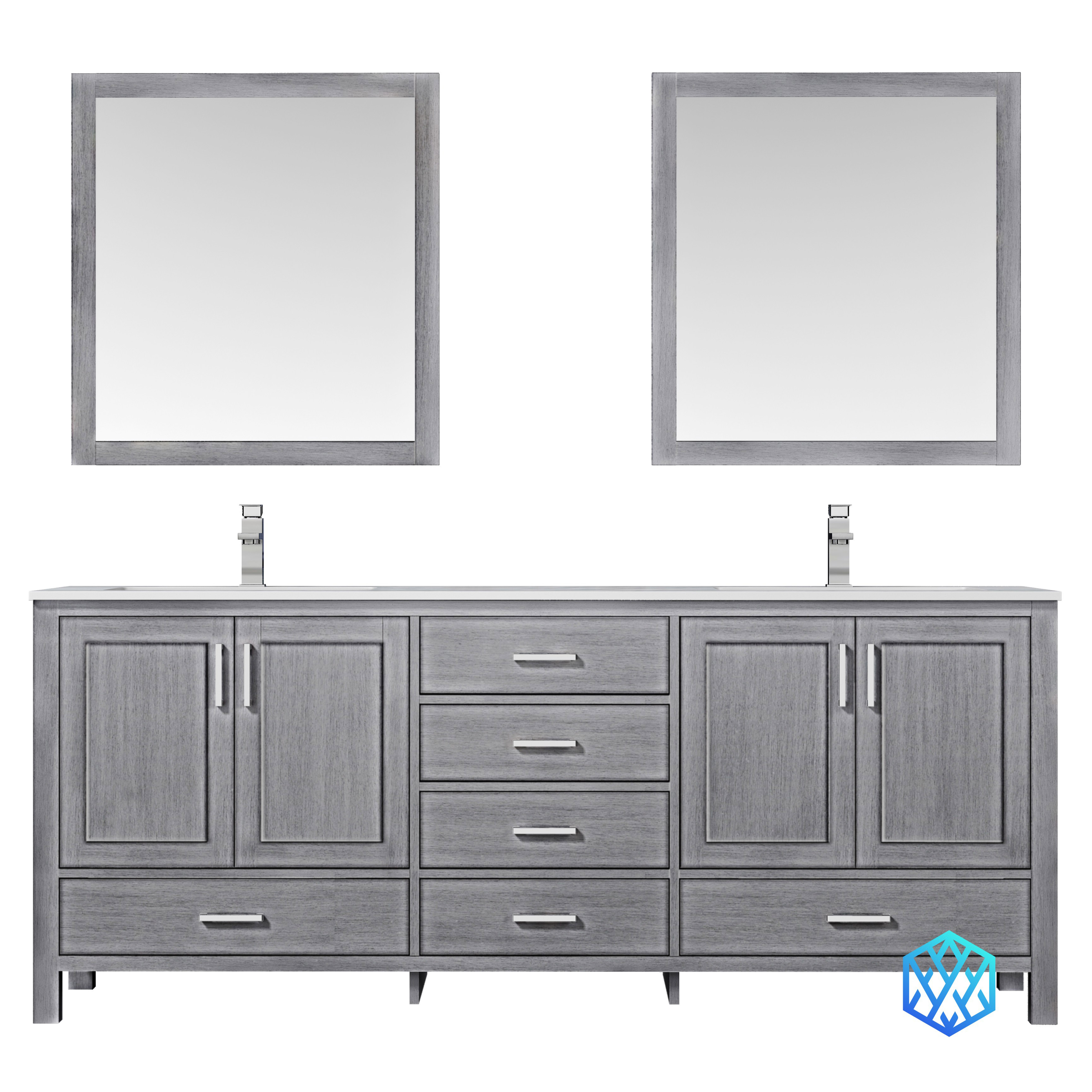"80"" Distressed Grey Vanity Cabinet Only with Countertop and Mirror Opions"