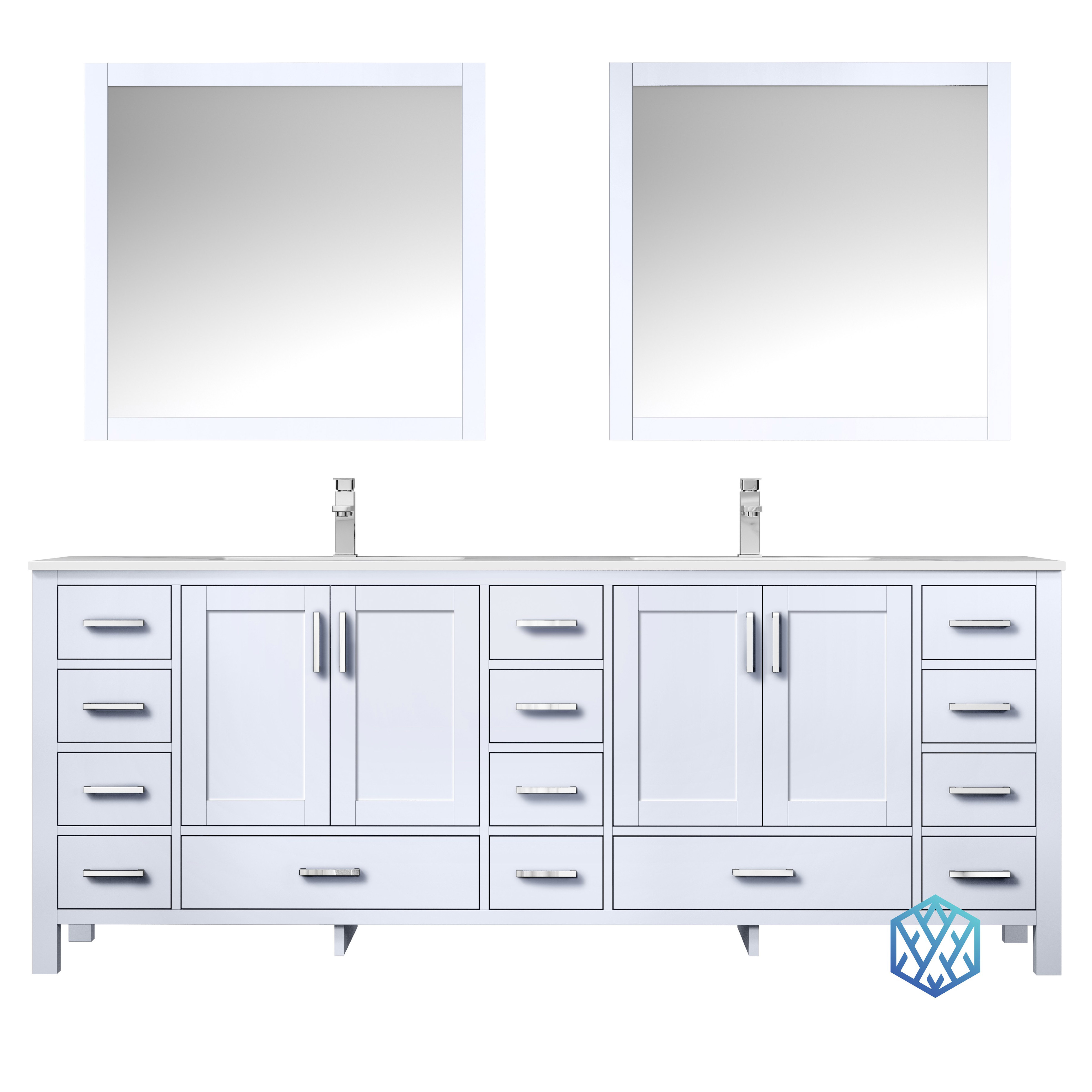 """84"""" White Vanity Cabinet Only with Countertop and Mirror Option"""