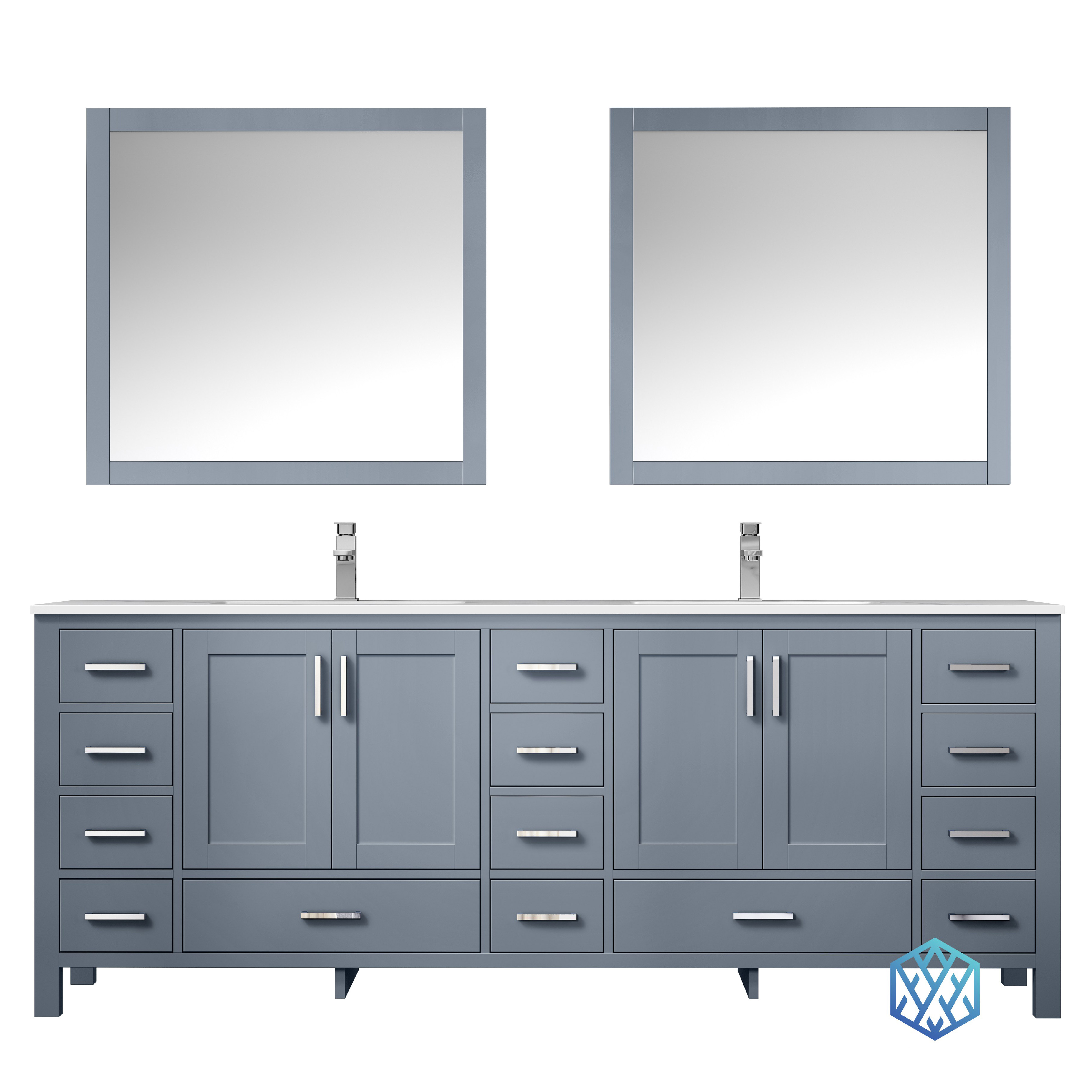 """84"""" Dark Grey Vanity Cabinet Only with Top and Mirror Option"""