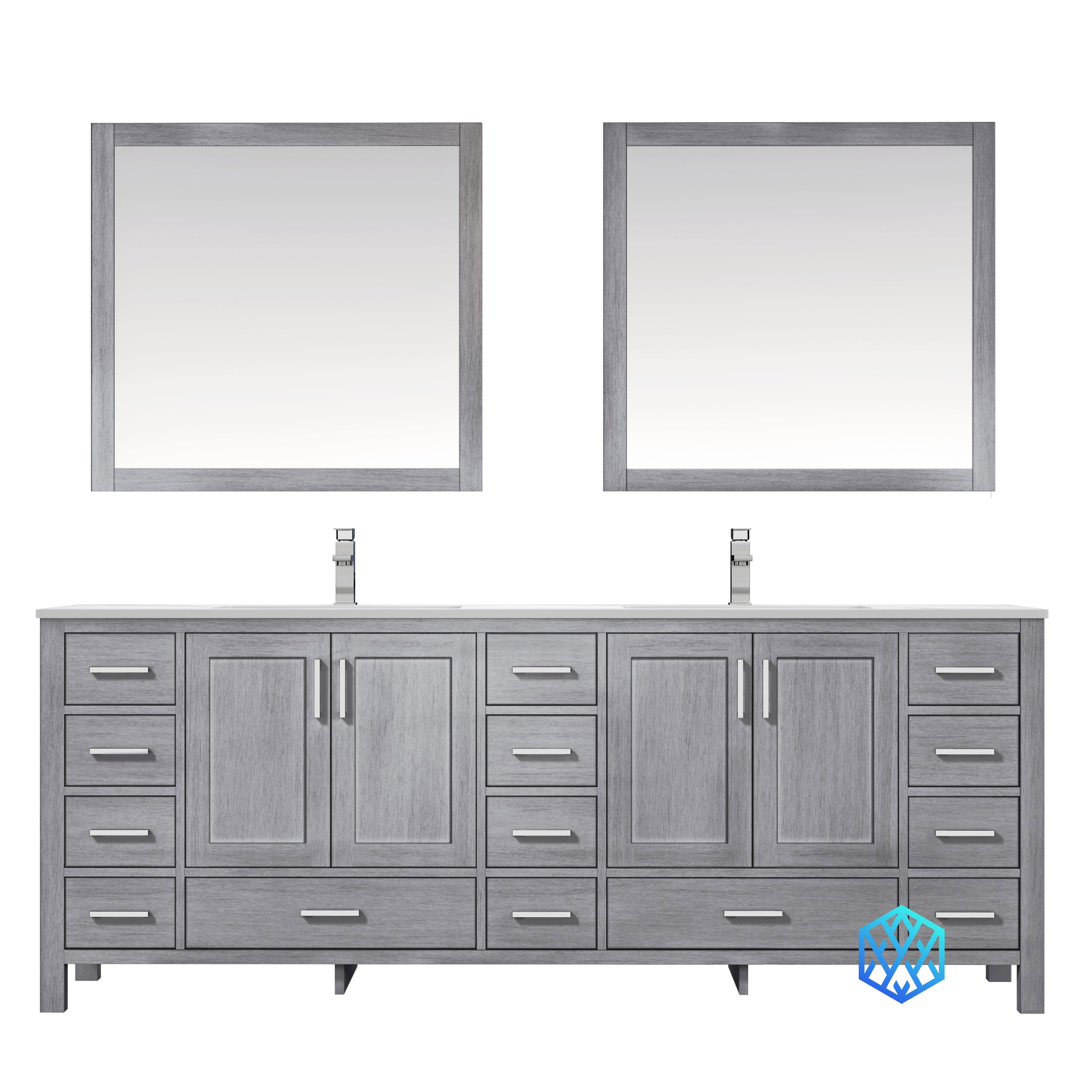 """84"""" Distressed Grey Vanity Cabinet Only with Countertop and Mirror Options"""