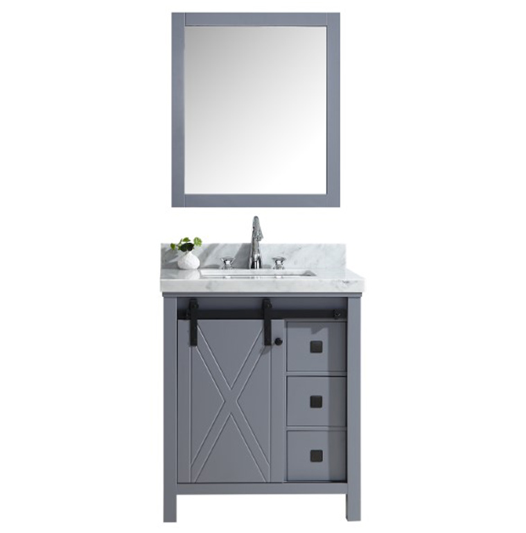 """30"""" Dark Grey Vanity Cabinet Only with Top and Mirror Option"""