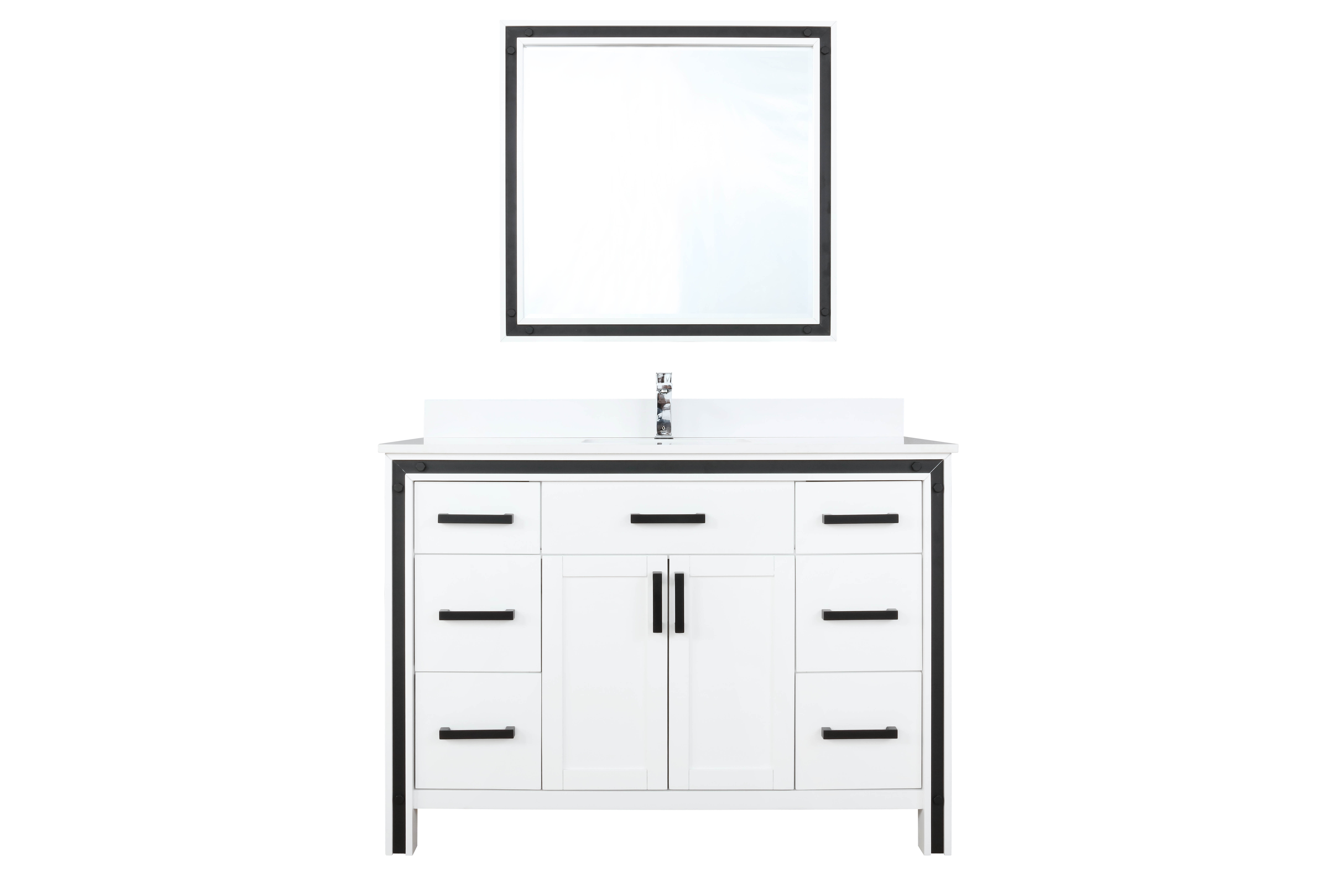 """48"""" White Vanity Bathroom Cabinet Only with Countertop and Mirror Options"""