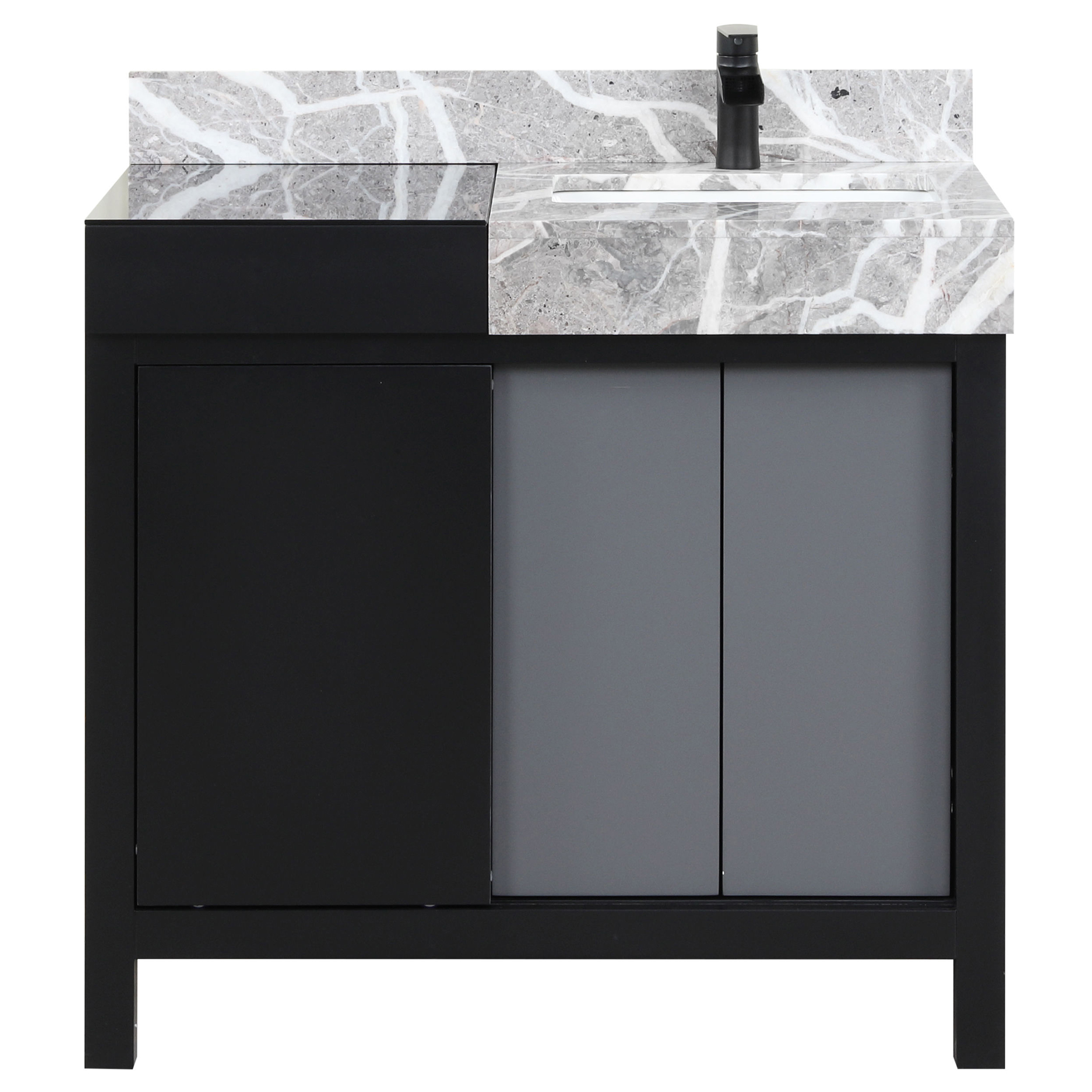 """36"""" Black and Grey Vanity, Castle Grey Marble Top, and White Square Sink"""
