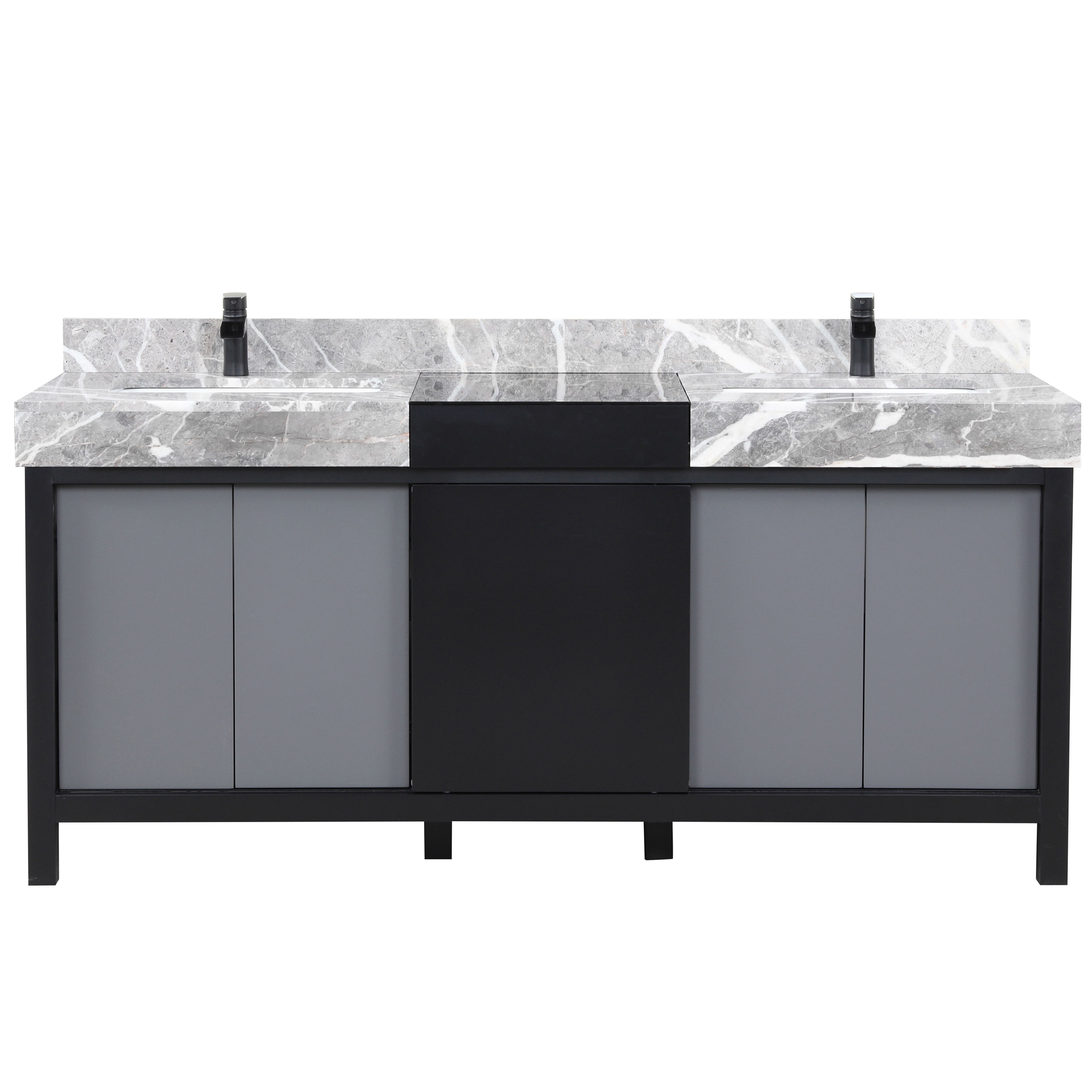 """72"""" Black and Grey Double Vanity, Castle Grey Marble Tops, and White Square Sinks"""
