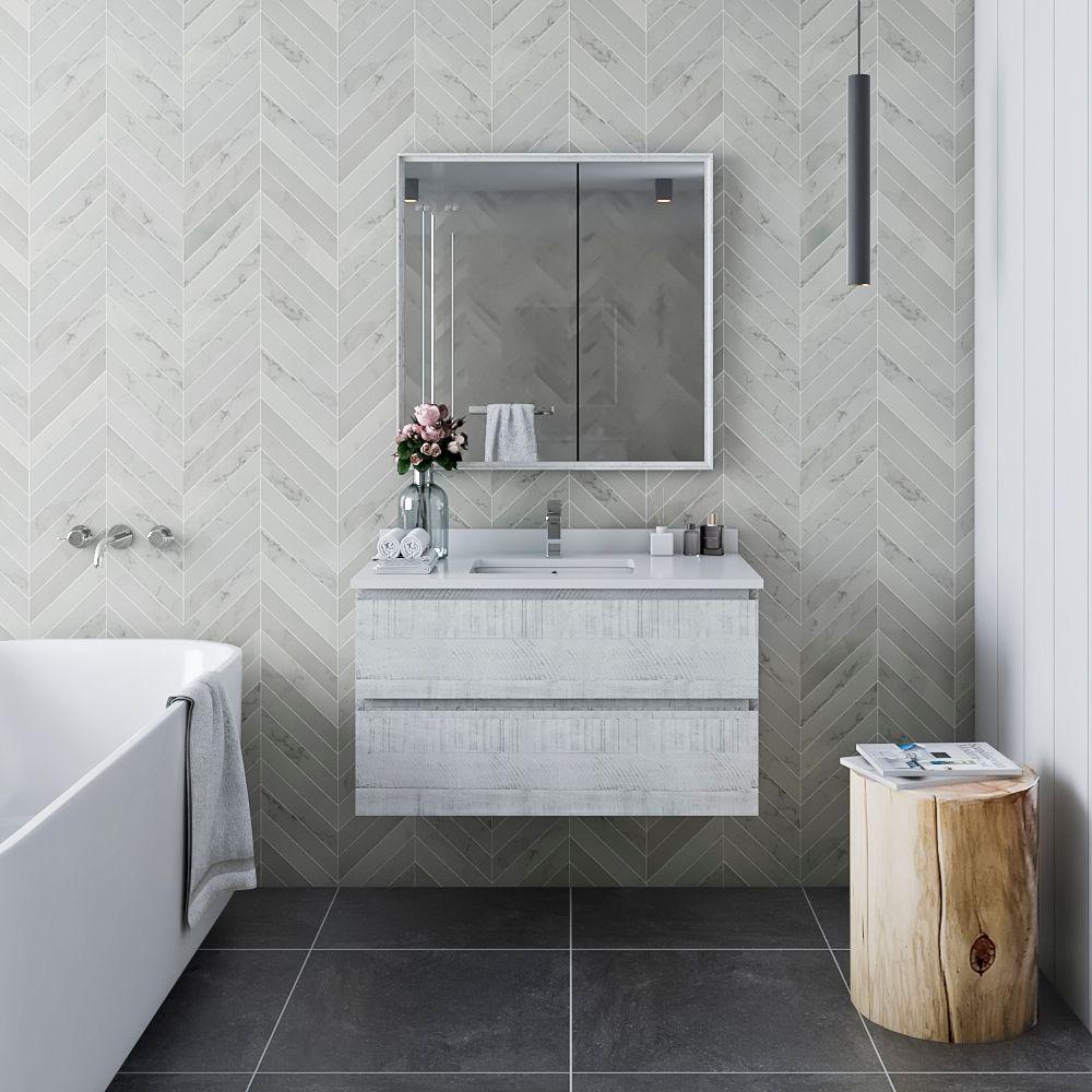"36"" Wall Hung Modern Bathroom Vanity w/ Mirror in Rustic White"