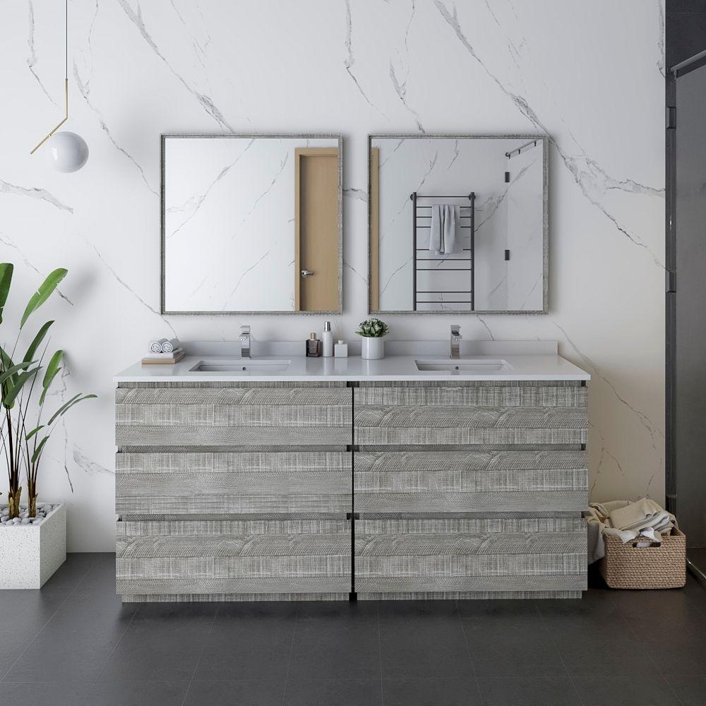"72"" Floor Standing Double Sink Modern Bathroom Vanity w/ Mirrors in Ash"