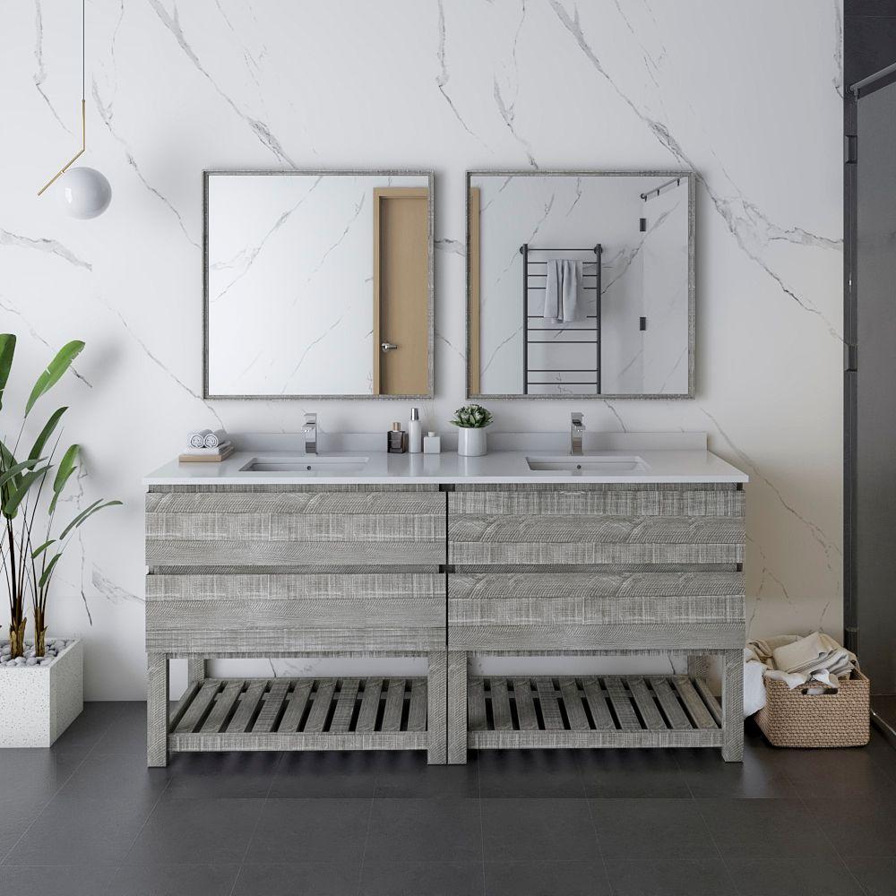 """72"""" Floor Standing Double Sink Modern Bathroom Vanity w/ Open Bottom & Mirrors in Ash"""