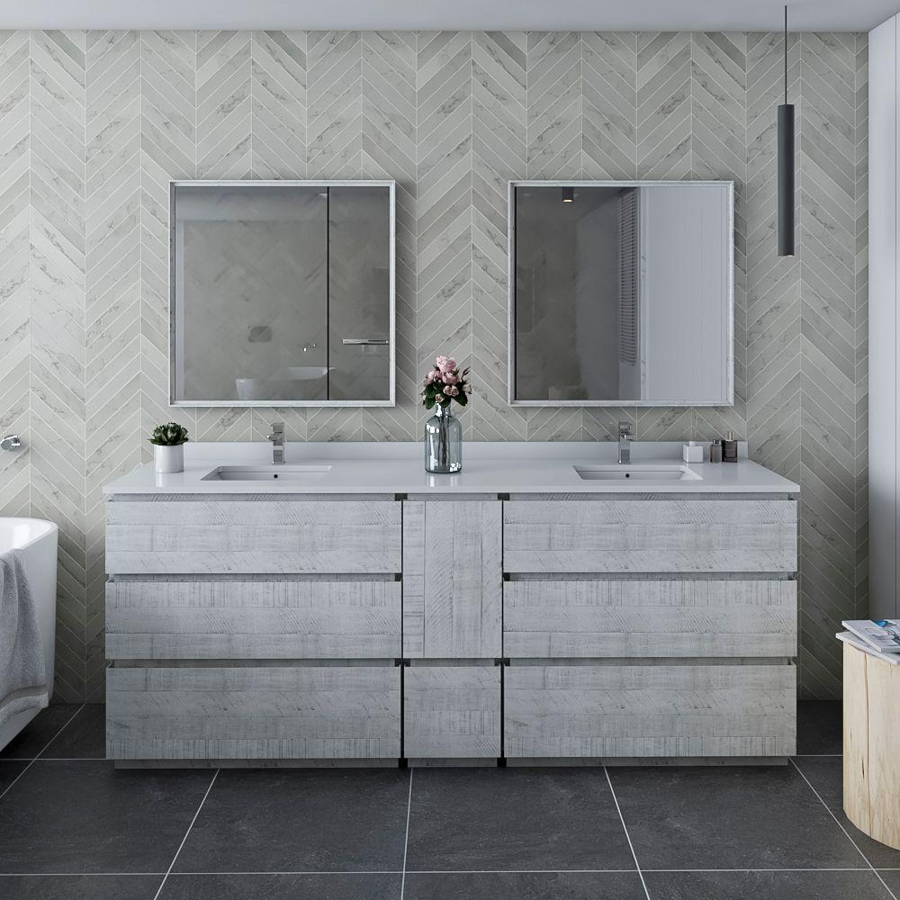 """84"""" Floor Standing Double Sink Modern Bathroom Vanity w/ Mirrors in Rustic White"""