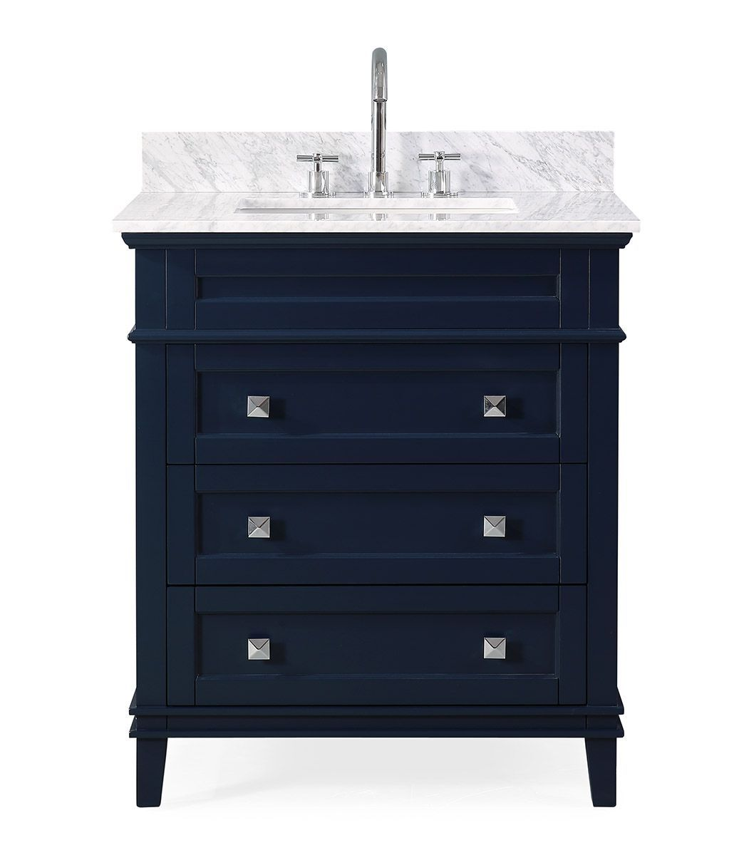 "30"" Contemporary Single Sink Navy Blue Bathroom Vanity with Italian Carrara Marble Countertop"