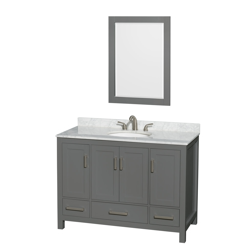 "48"" Single Bathroom Vanity in Dark Gray with Countertop, Sink, and Mirror Options"