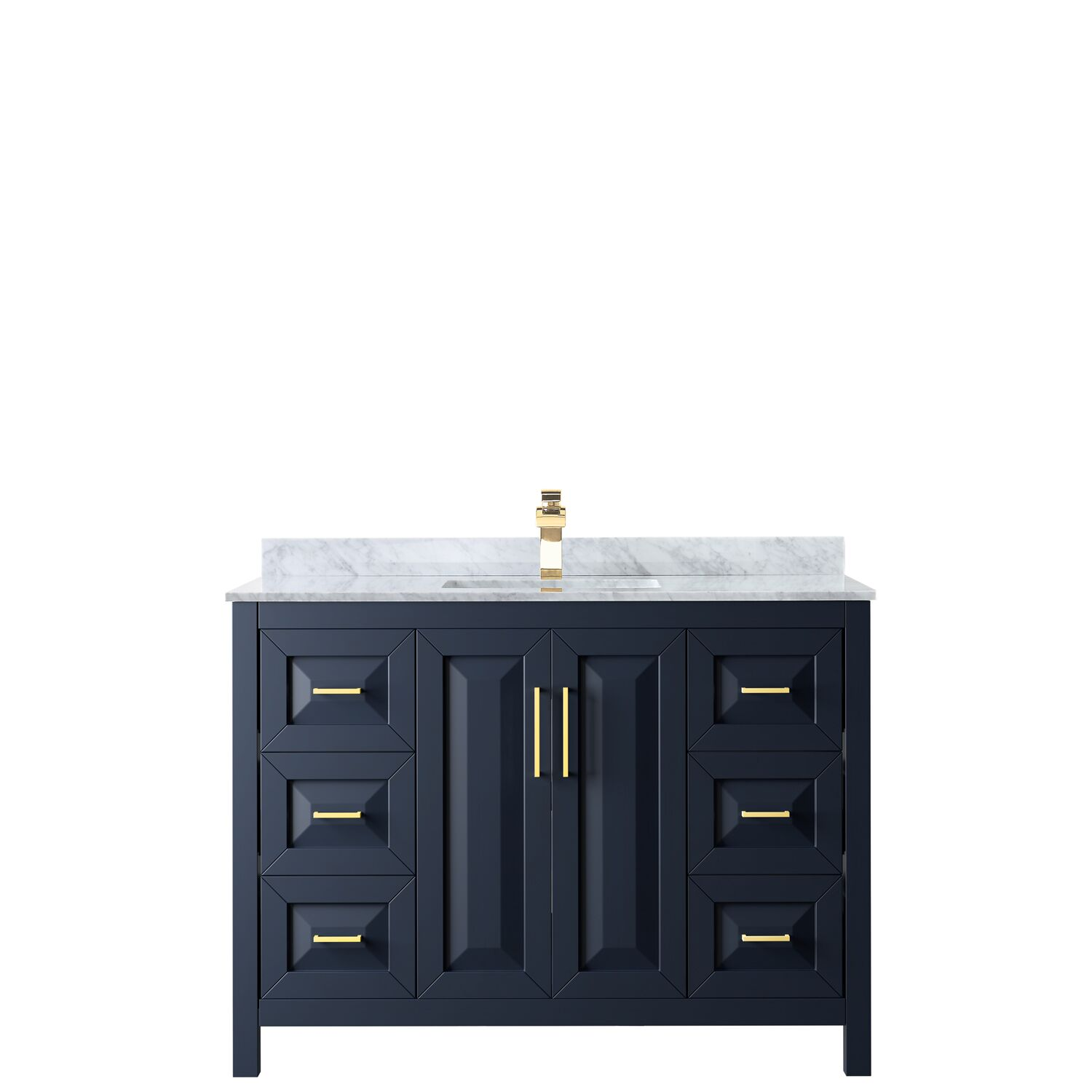 "48"" Single Bathroom Vanity in Dark Blue with Countertop, Mirror and Medicine Cabinet Options"