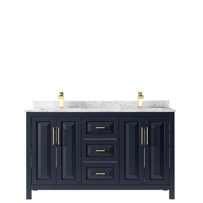 "60"" Double Bathroom Vanity in Dark Blue with Countertop, Mirror and Medicine Cabinet Options"