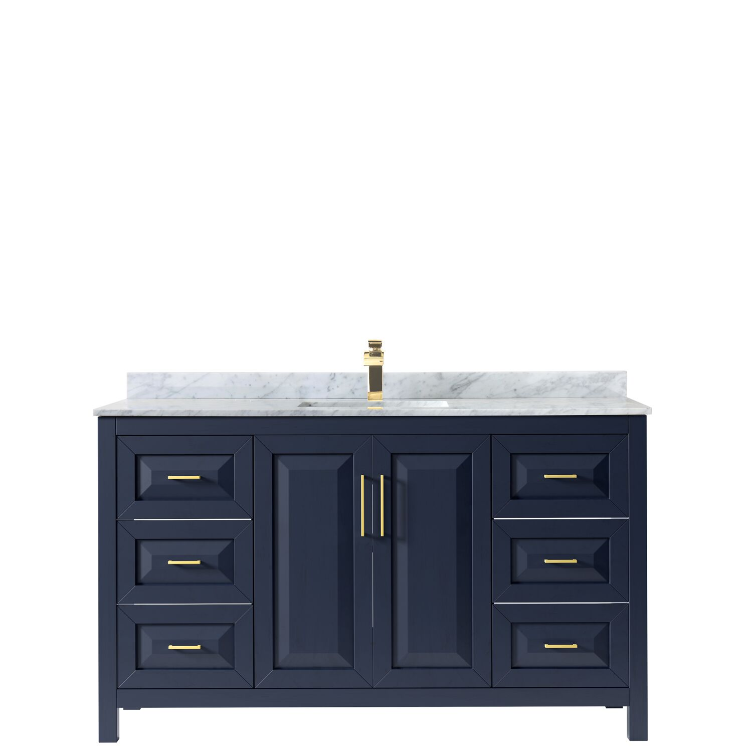 "60"" Single Bathroom Vanity in Dark Blue with Countertop and Mirror Options"