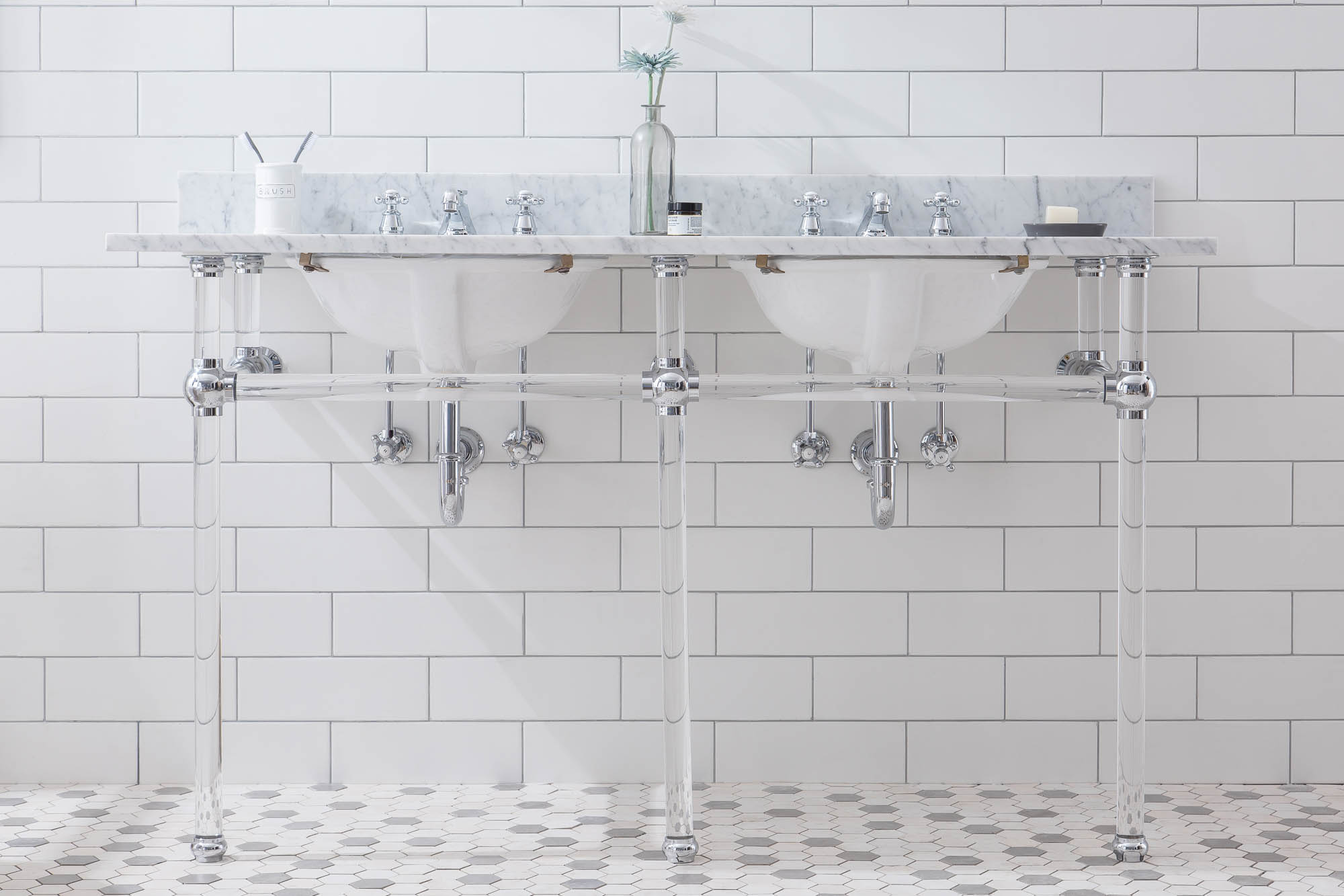 """60"""" Wide Double Wash Stand Only with Chrome Finish"""
