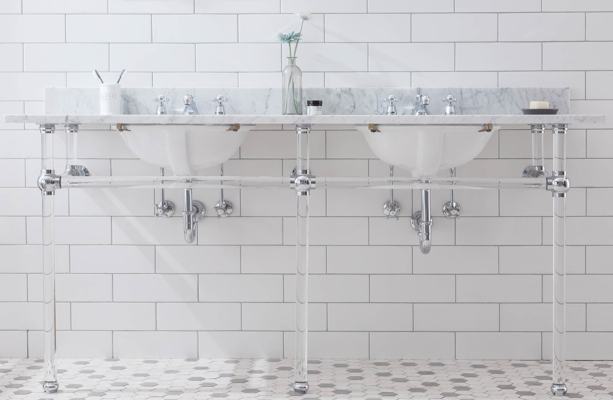 """72"""" Wide Double Wash Stand Only with Chrome Finish"""