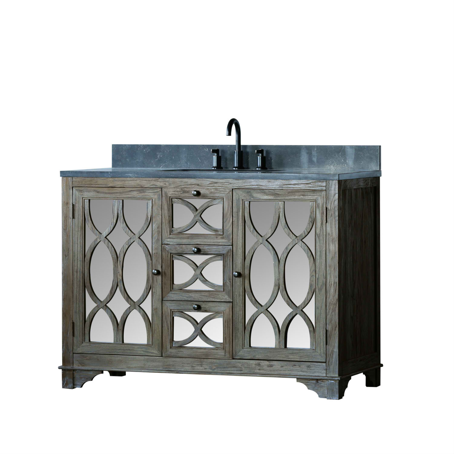 """48"""" Handcrafted Solid Wood Single Sink Brushed Natural Finish with Natural Moon Stone Top Style Bathroom Sink Vanity"""