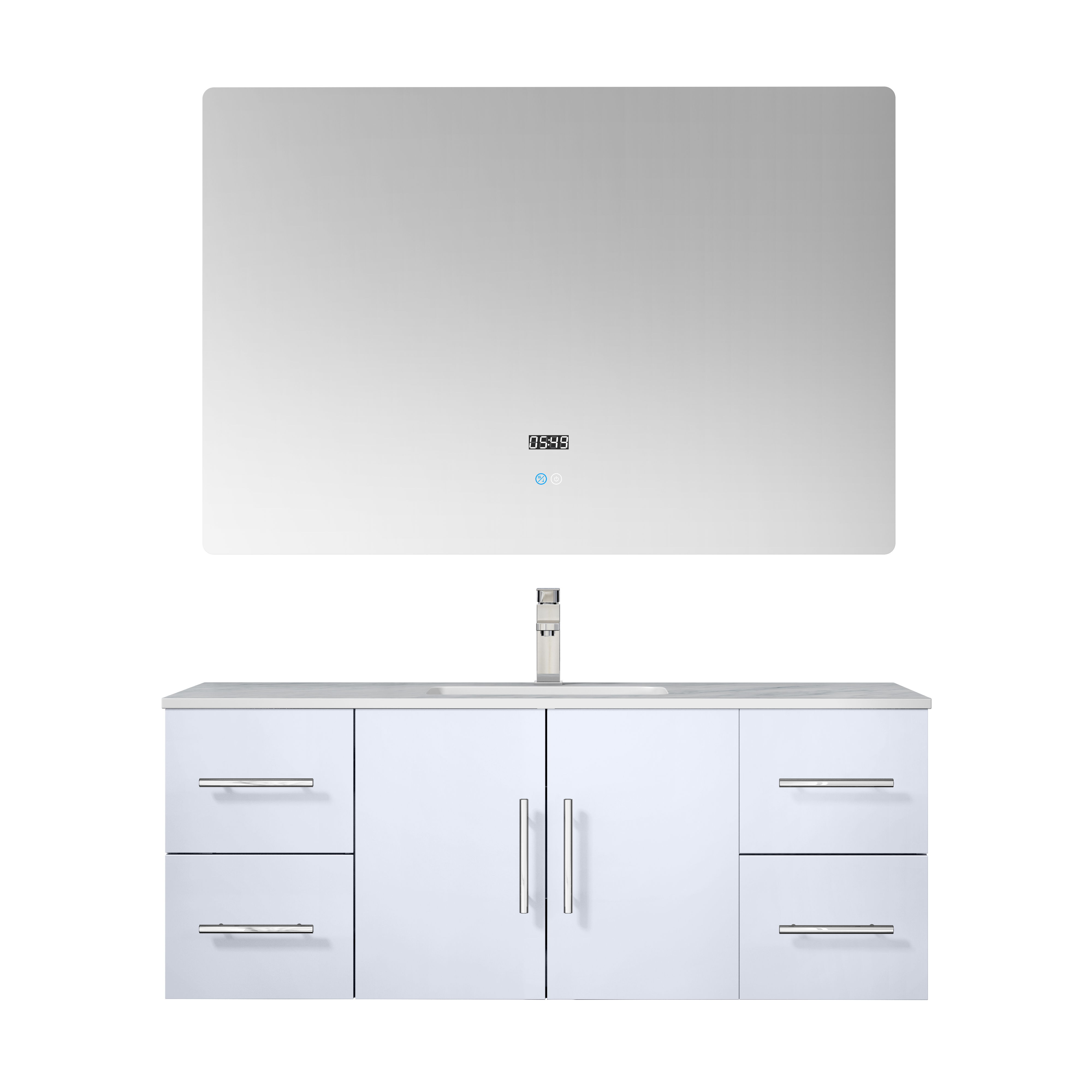 """48"""" Glossy White Vanity Cabinet Only with Countertop and Mirror Options"""