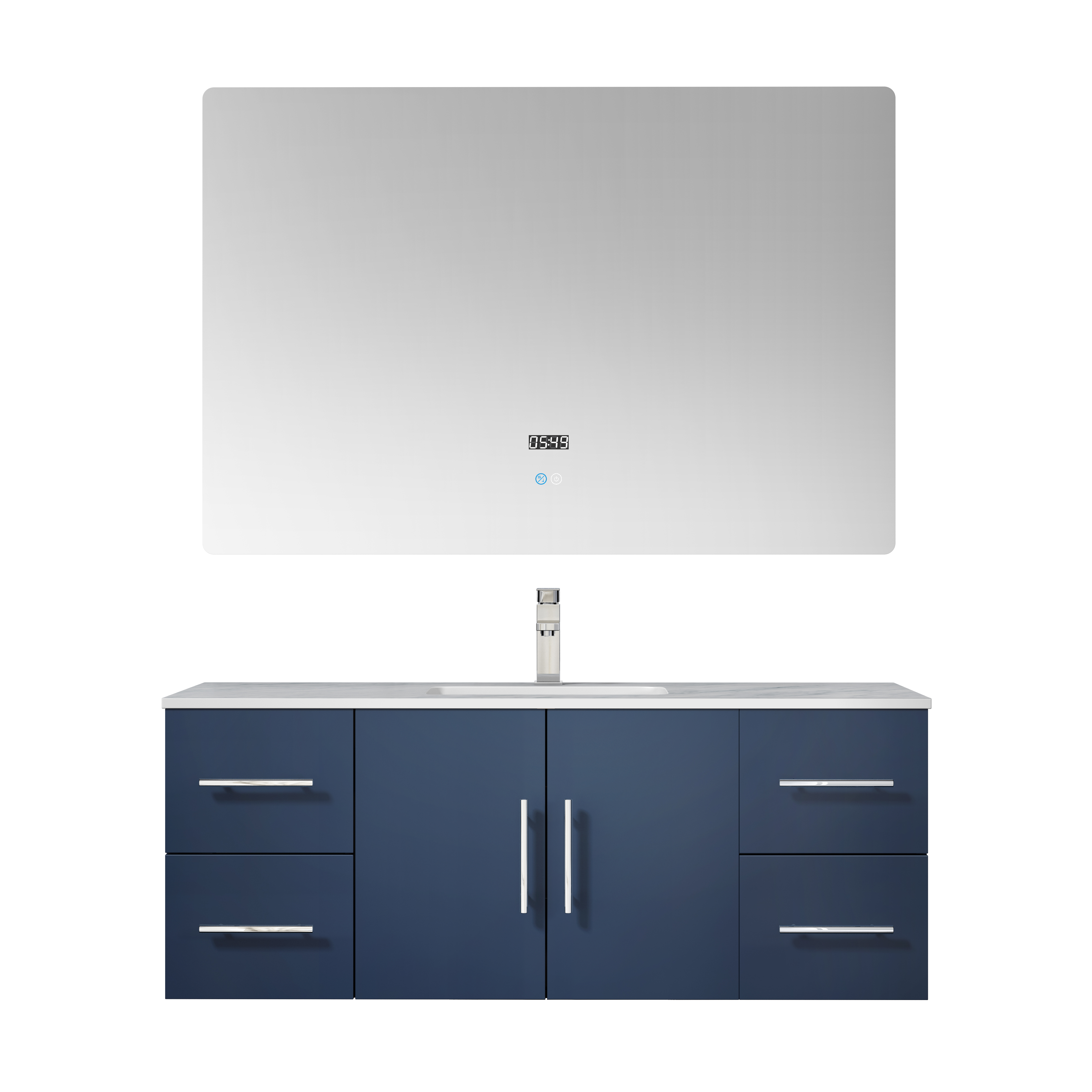 """48"""" Navy Blue Vanity Cabinet Only with Countertop and Mirror Options"""
