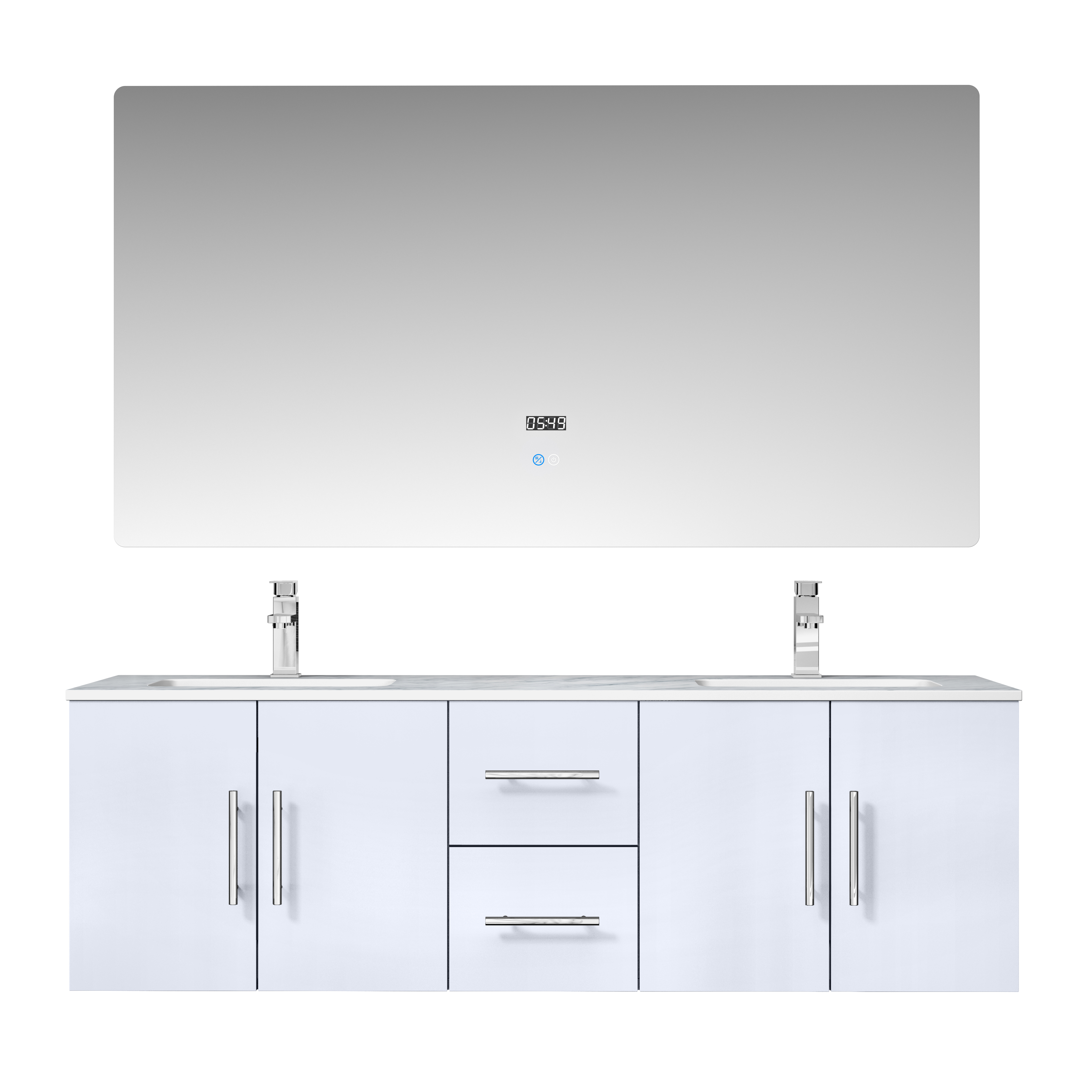 """60"""" Glossy White Vanity Cabinet Only with Countertop and Mirror Options"""