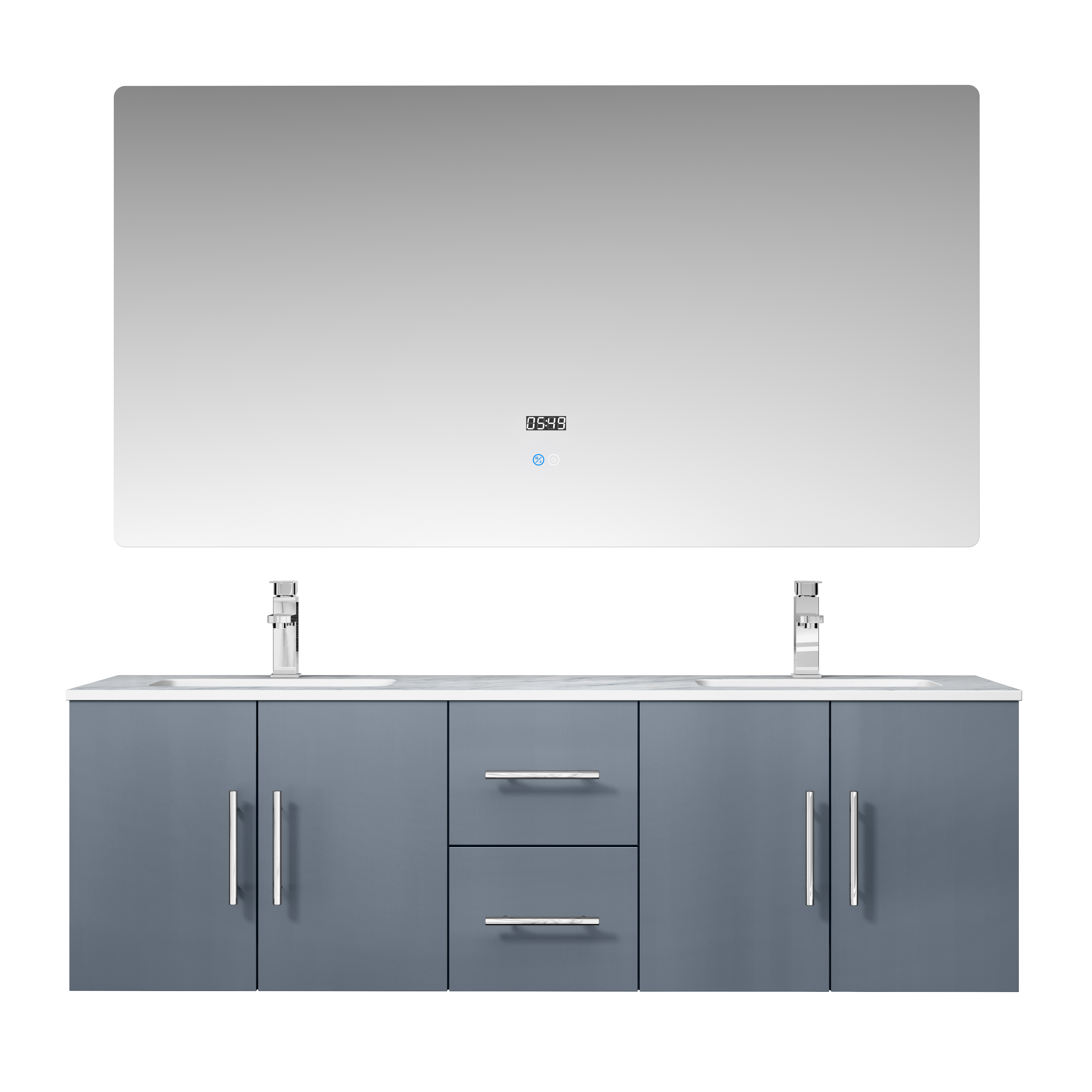 """60"""" Dark Grey Vanity Cabinet Only with Countertop and Mirror Options"""