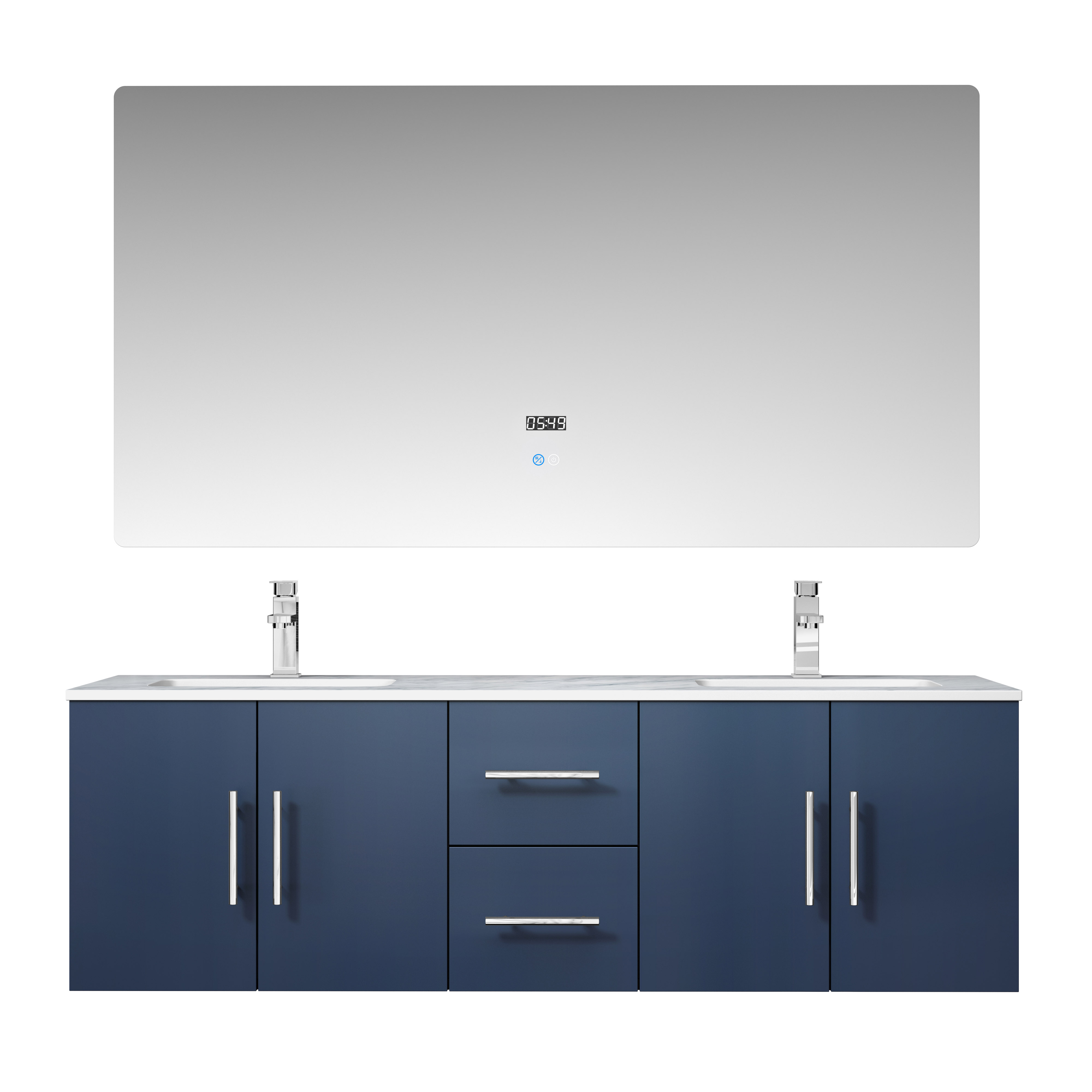 "60"" Navy Blue Vanity Cabinet Only with Countertop and Mirror Options"