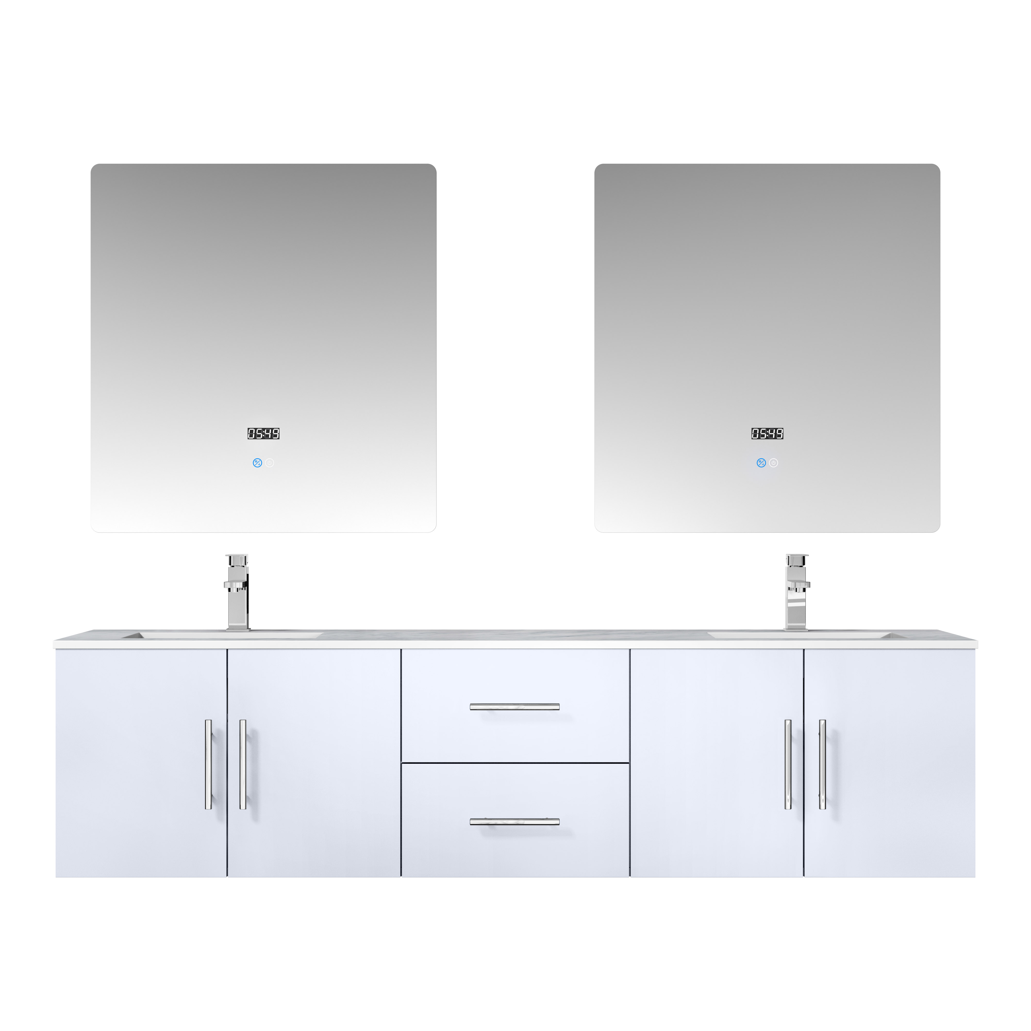 """72"""" Glossy White Vanity Cabinet Only with Countertop and Mirror Options"""