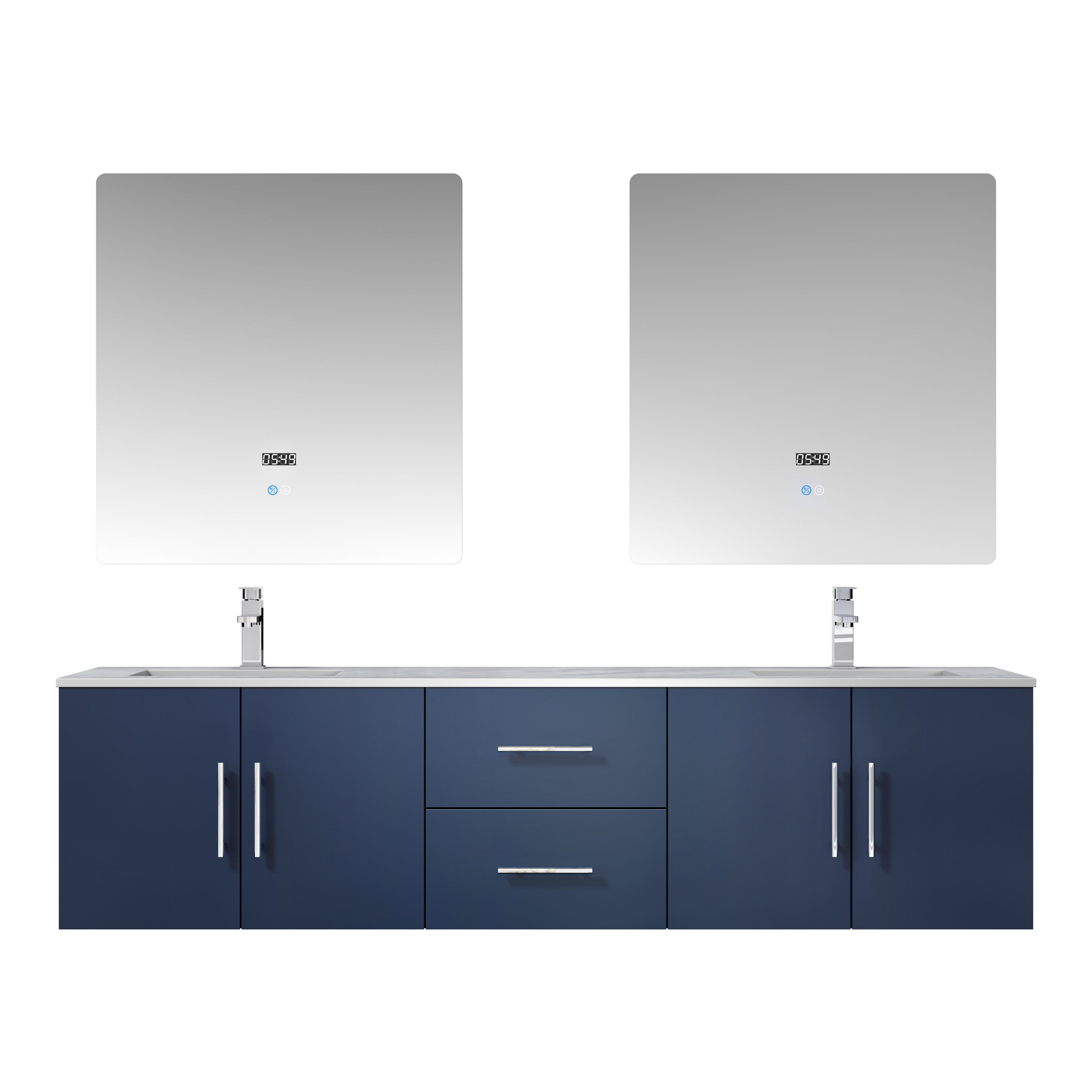 """72"""" Navy Blue Vanity Cabinet Only with Countertop and Mirror Options"""