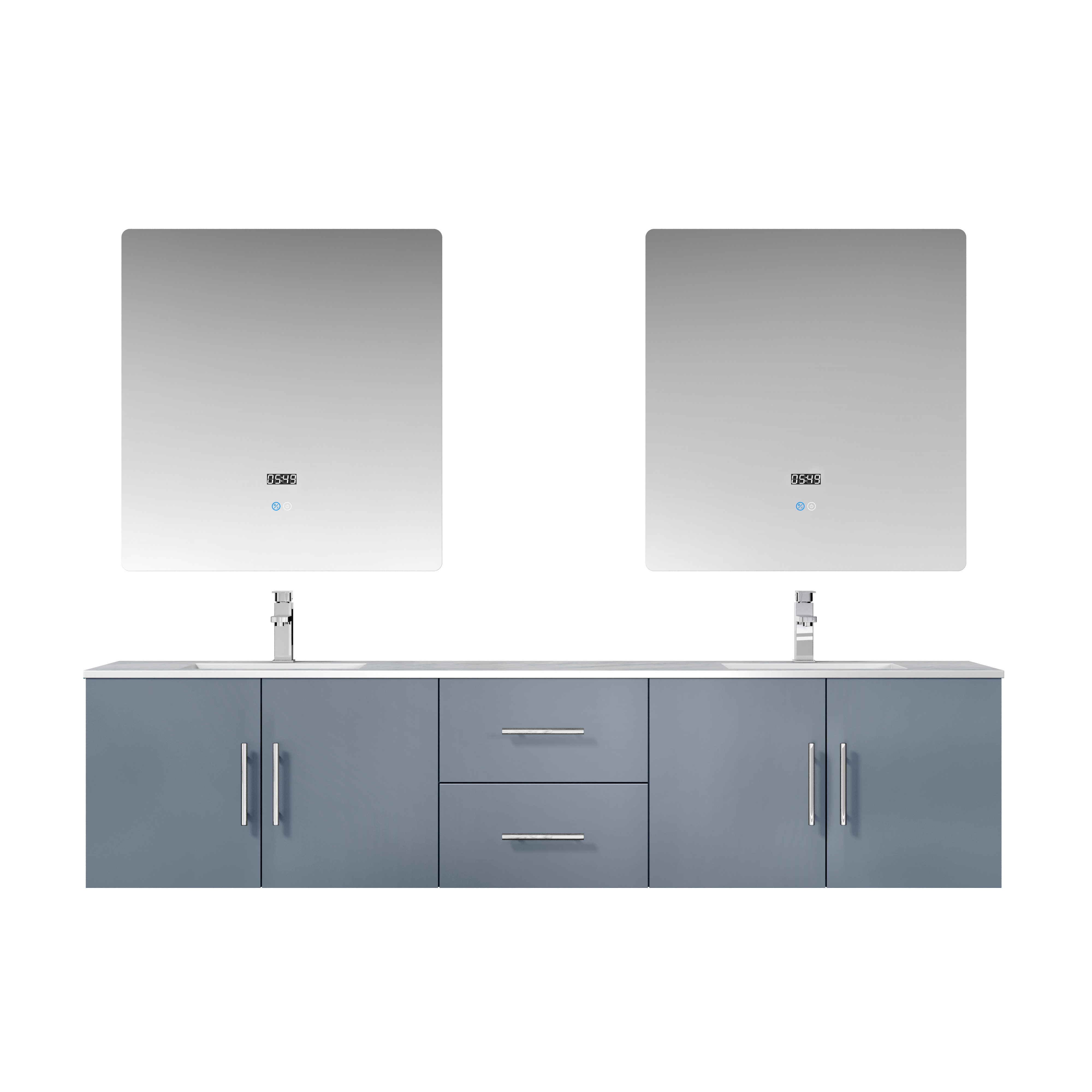 "80"" Dark Grey Vanity Cabinet Only with Countertop and Mirror Options"