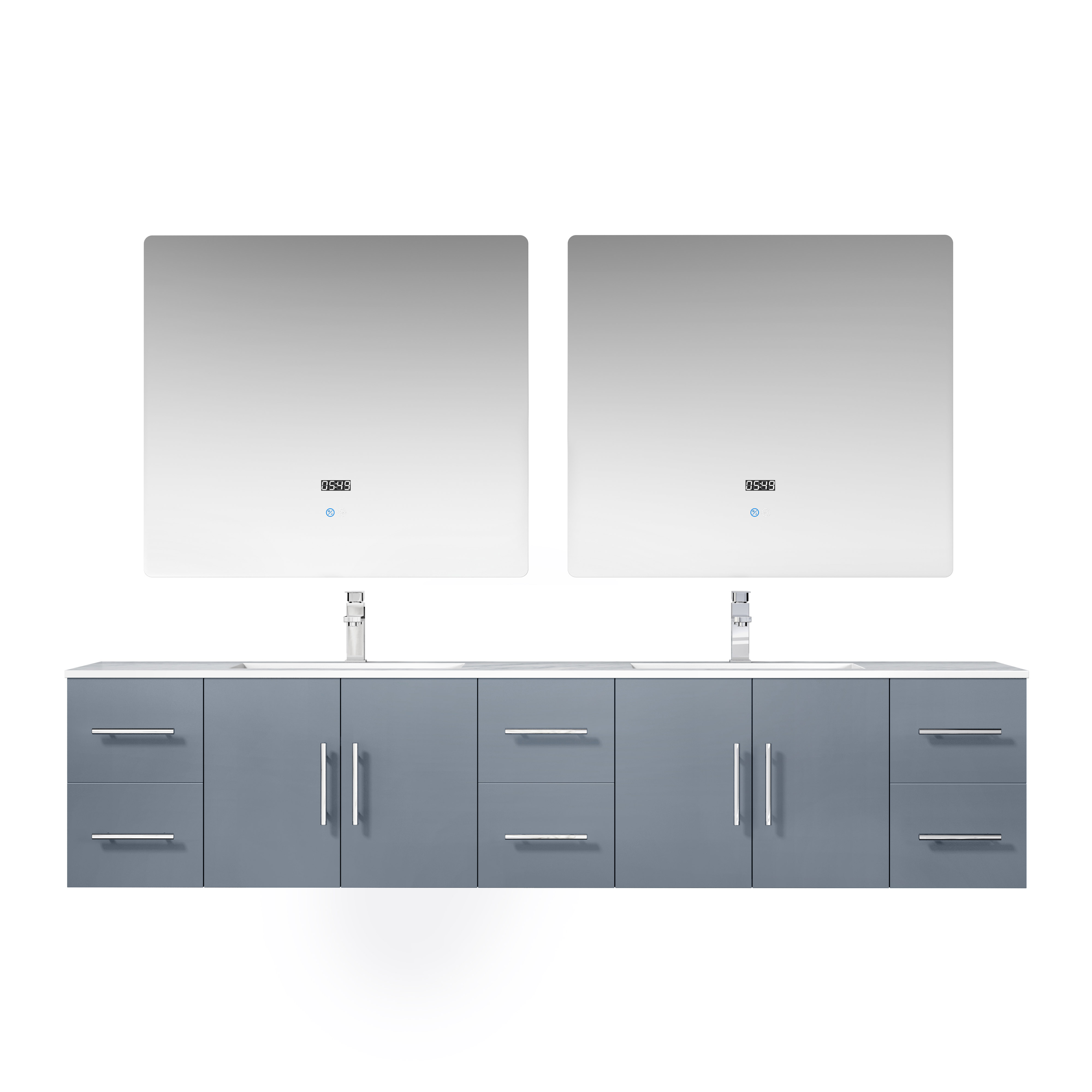 """84"""" Dark Grey Vanity Cabinet Only with Countertop and Mirror Options"""