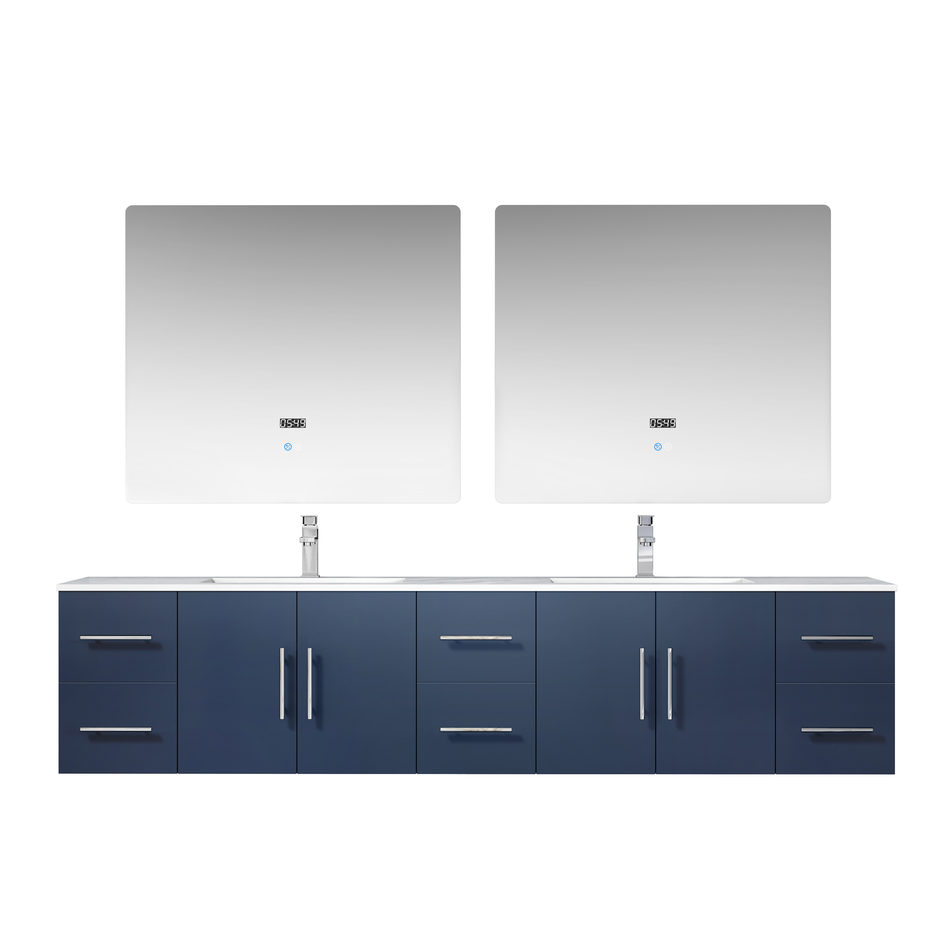 """84"""" Navy Blue Vanity Cabinet Only with Countertop and Mirror Options"""