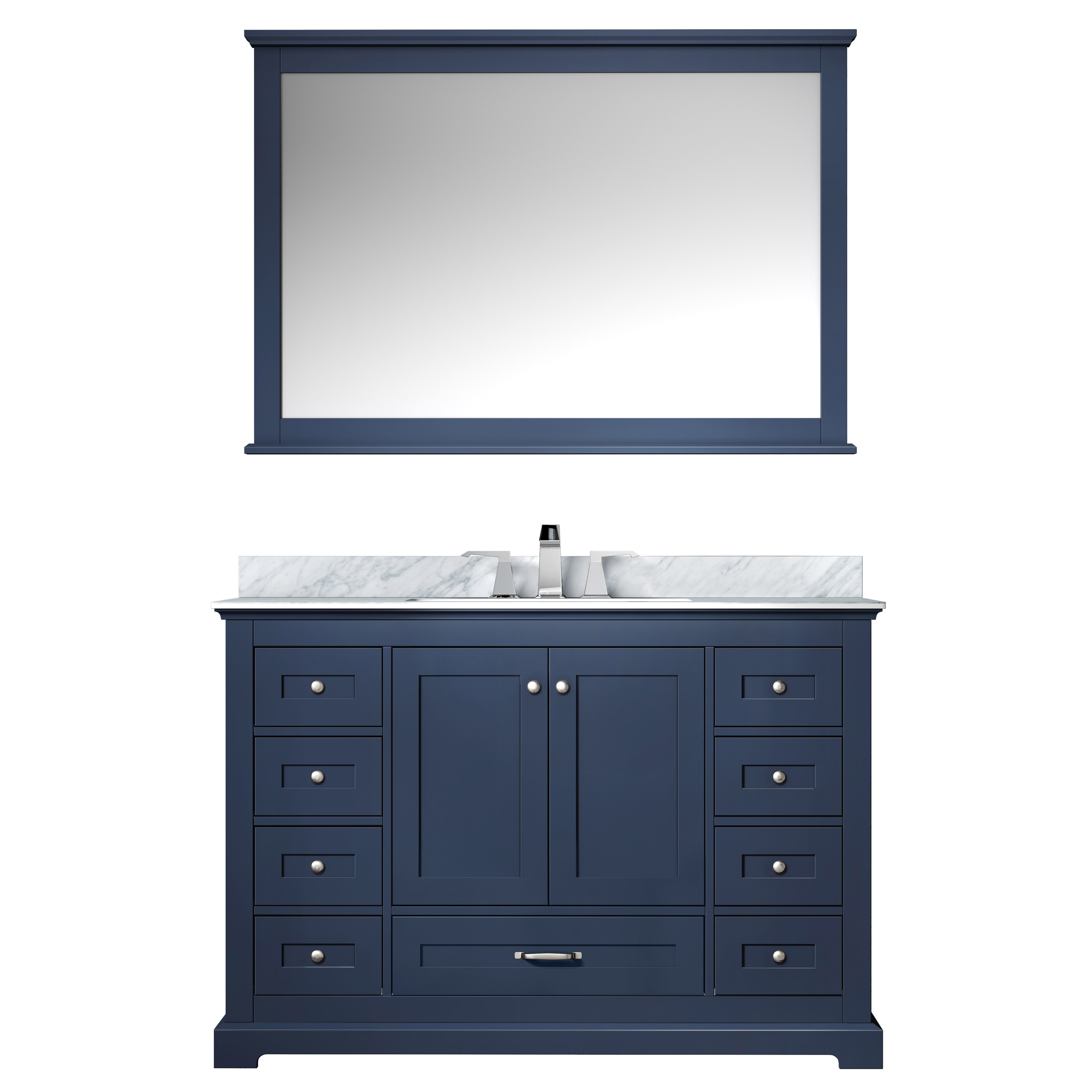 """48"""" Navy Blue Vanity Cabinet Only with Countertop and Mirror Option"""