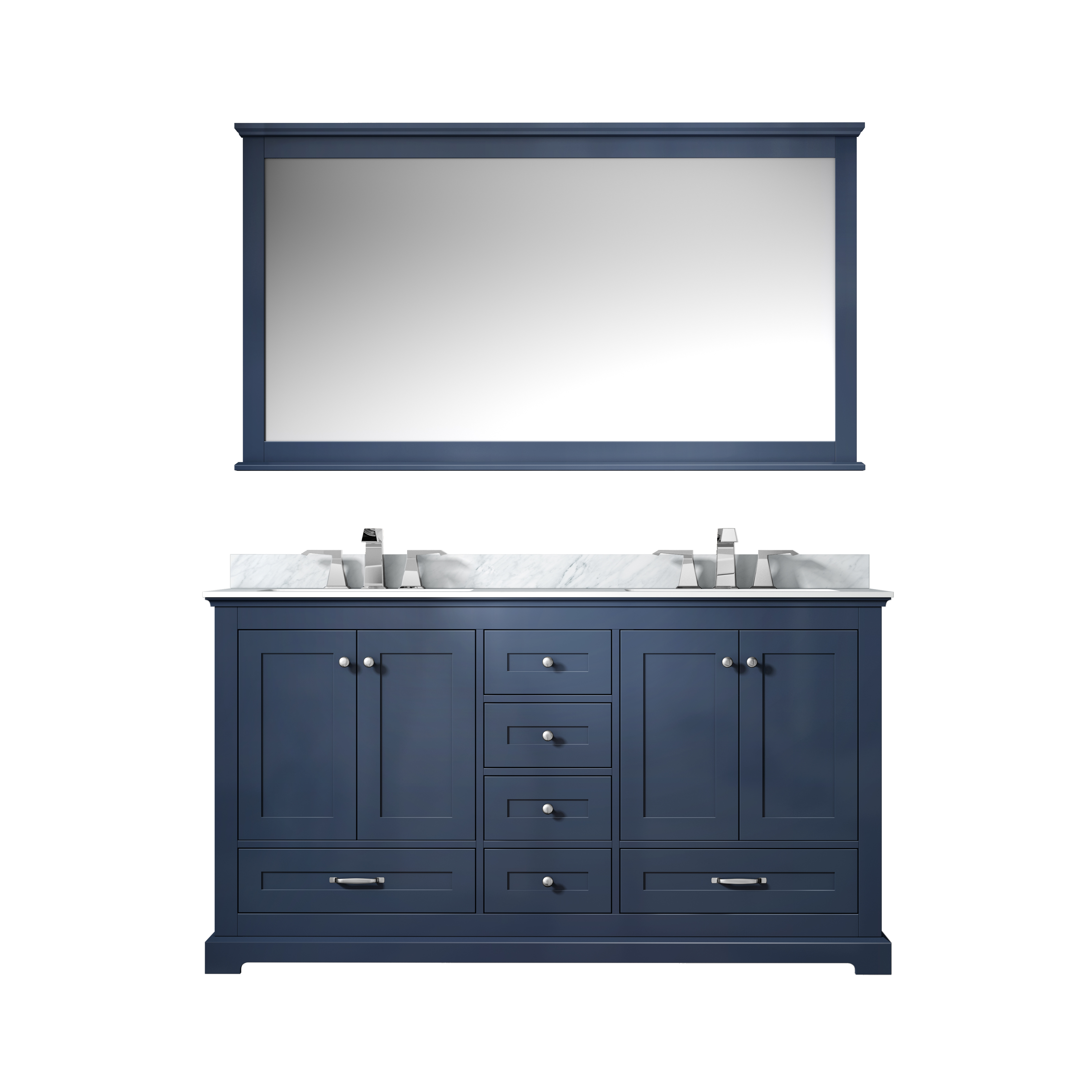 "60"" Navy Blue Vanity Cabinet Only with Top and Mirror Options"