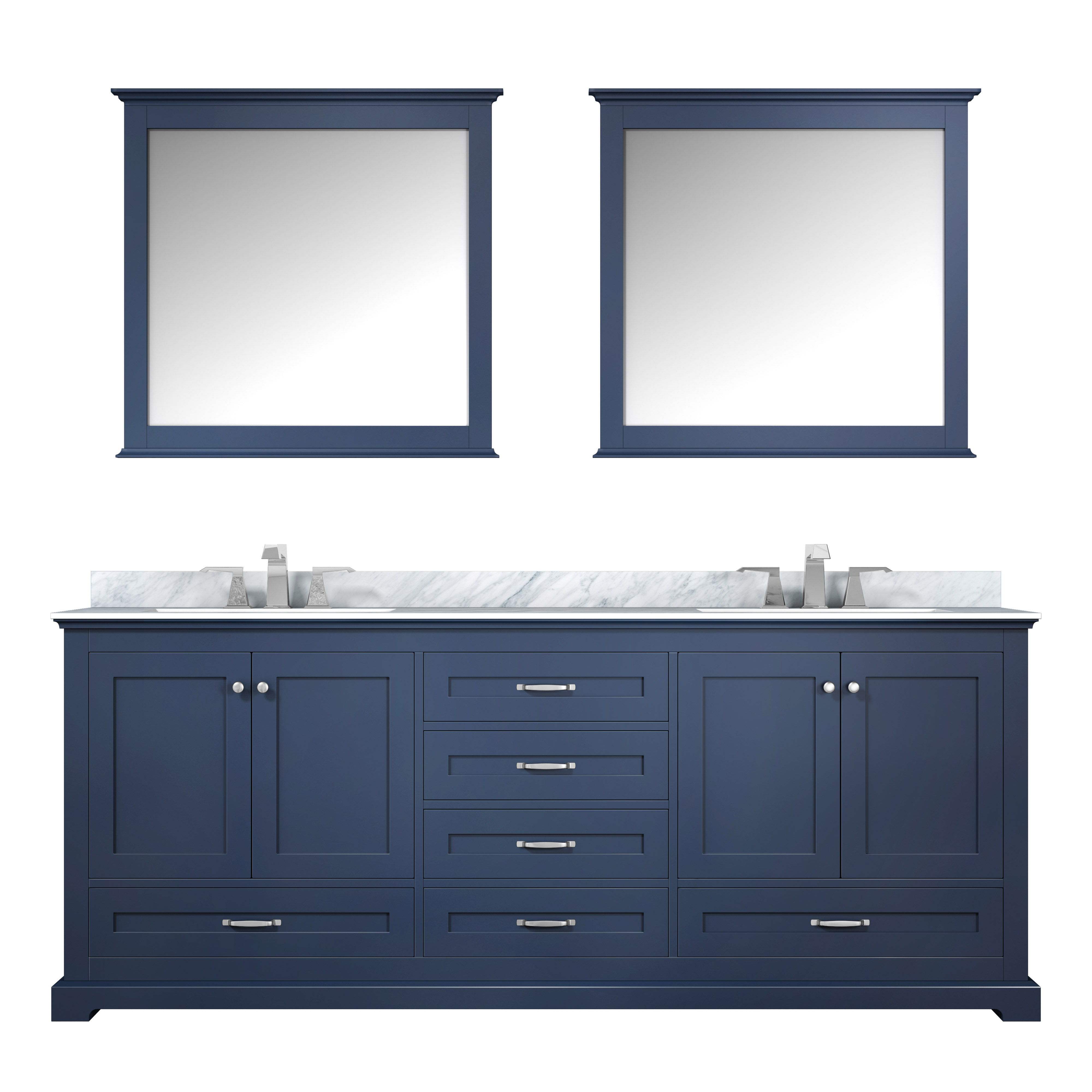 """80"""" Navy Blue Vanity Cabinet Only with Countertop and Mirror Option"""