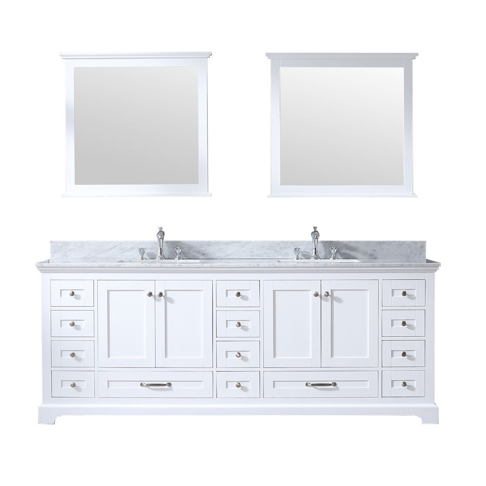 """84"""" White Vanity Cabinet Only with Countertop and Mirror Options"""