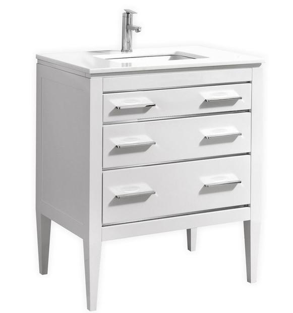 30 Inch Contemporary Bathroom Vanity White Glossy Finish Pure White Quartz Countertop