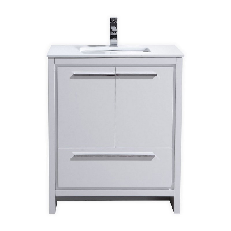 30 inch high gloss white modern bathroom vanity with white quartz countertop - Contemporary european designer bathroom vanities ...