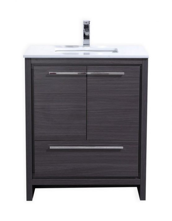 "Modern Lux 30"" Gray Oak Modern Bathroom Vanity with White Quartz Counter-Top"