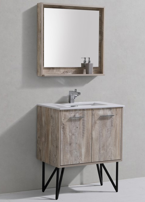 30 inch Nature Wood Modern Bathroom Vanity Quartz Top and Matching Mirror