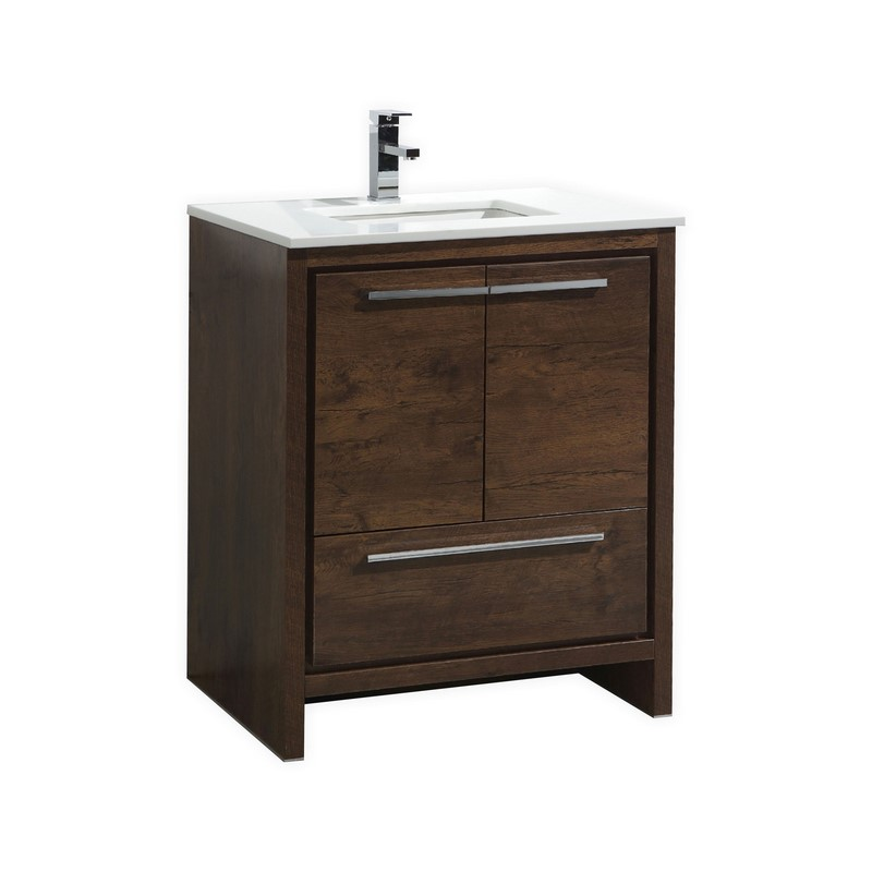 30 Inch Rose Wood White Modern Bathroom Vanity With White Quartz Countertop