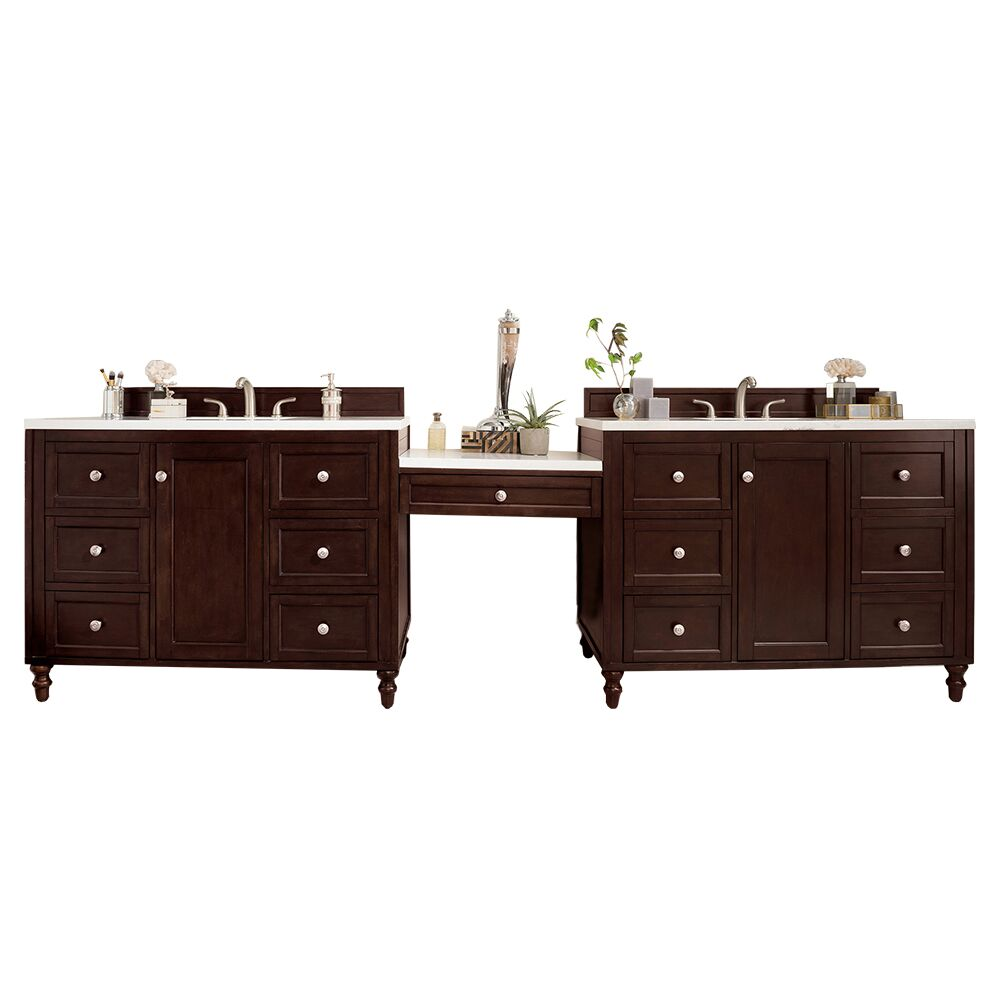 "James Martin Copper Cove Encore Collection 122"" Double Vanity Set, Burnished Mahogany with Makeup Table, 3 CM Snow White Quartz Top"