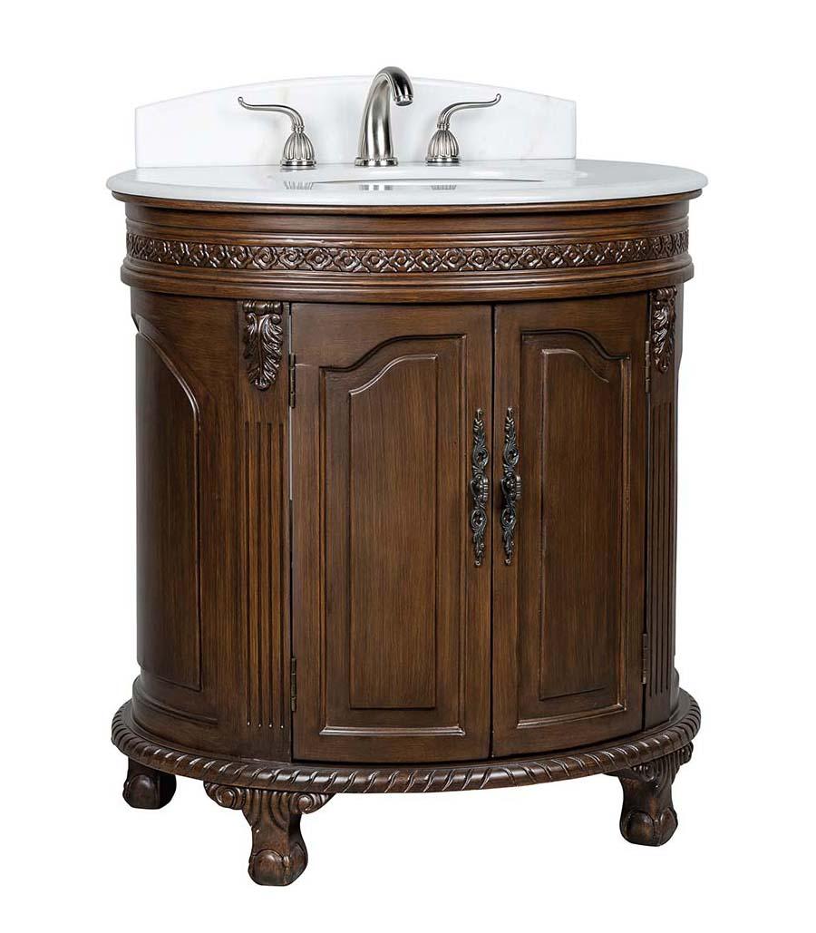32 inch Adelina Antique Bathroom Vanity White Marble Countertop
